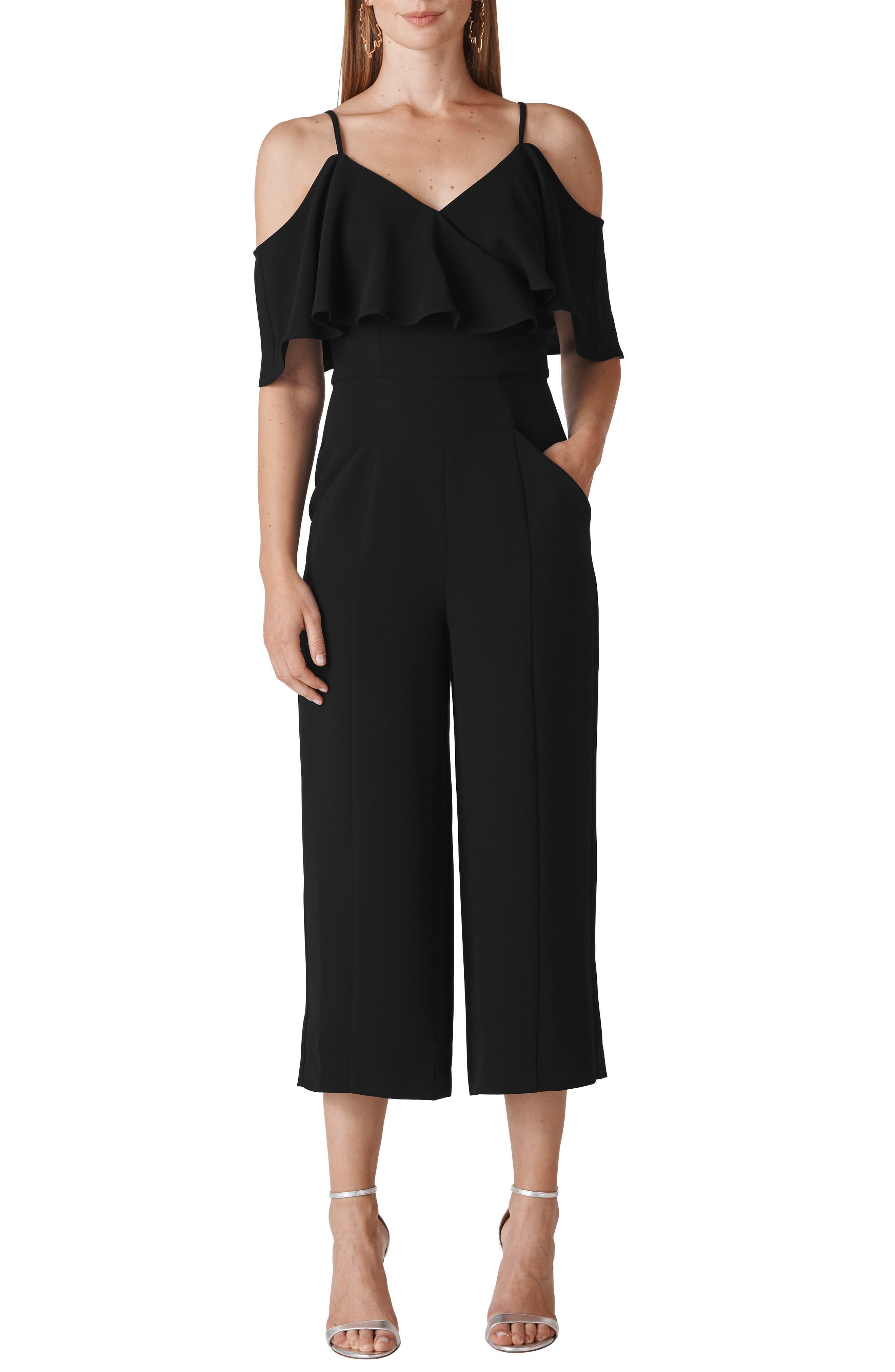 Camila Ruffle Cold Shoulder Crop Jumpsuit,                             Main thumbnail 1, color,                             BLACK