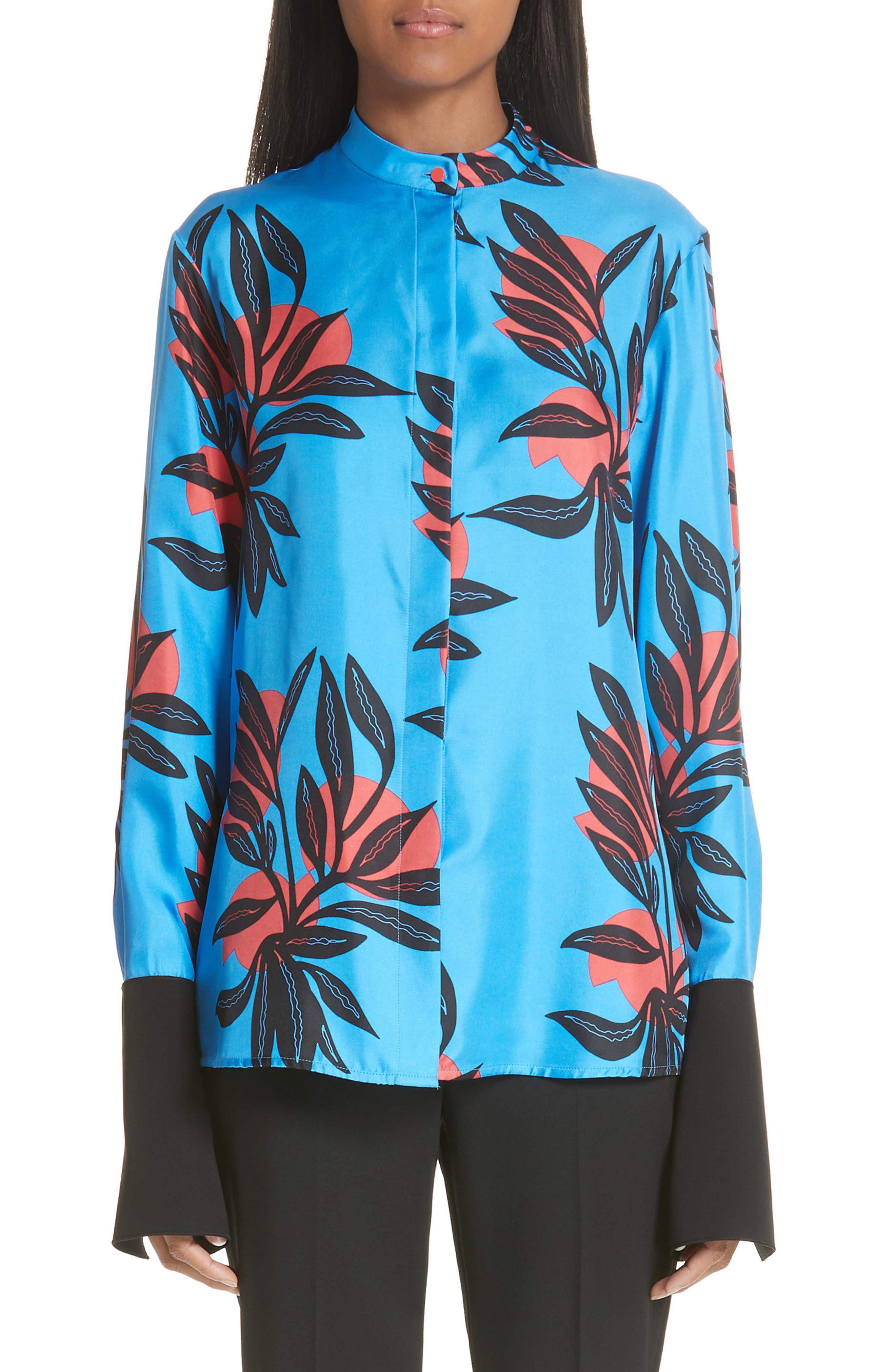 Imani Floral Print Silk Shirt,                             Main thumbnail 1, color,
