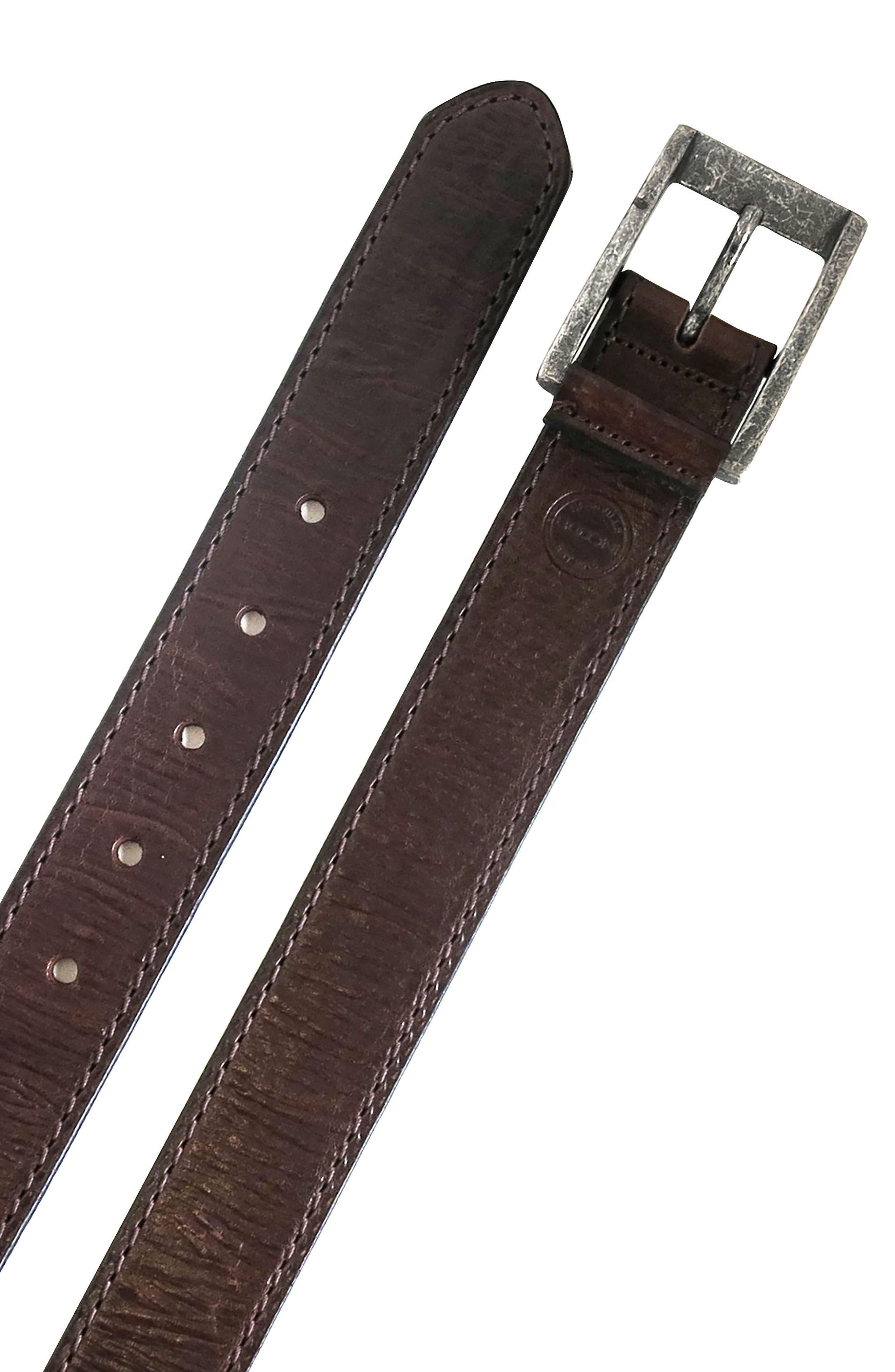 BOCONI,                             Burnished Calfskin Leather Belt,                             Alternate thumbnail 2, color,                             CHESTNUT