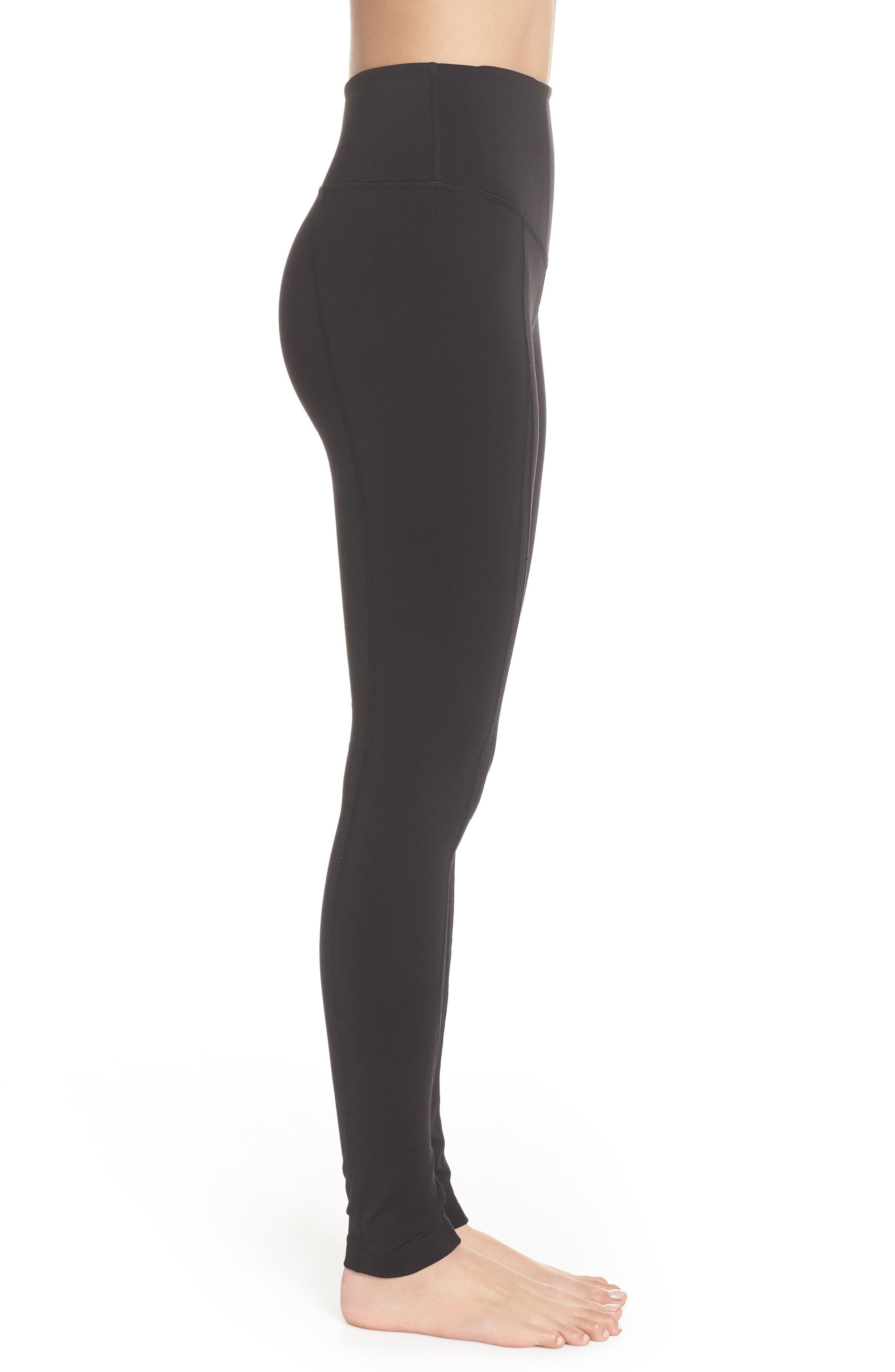 Reinvent Recycled High Waist Leggings,                             Alternate thumbnail 3, color,                             BLACK