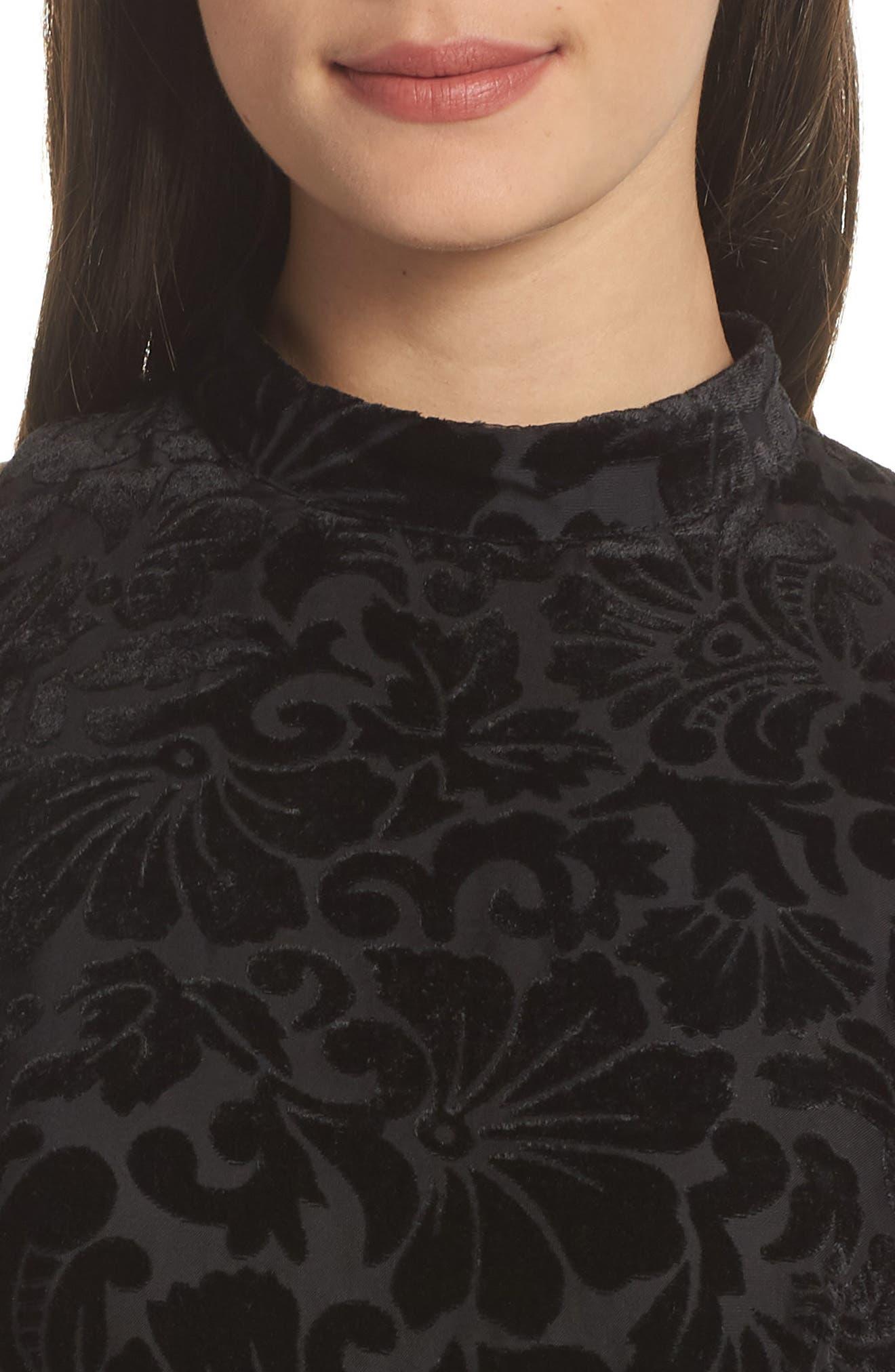 Burnout Velvet Sheath Dress,                             Alternate thumbnail 4, color,                             BLACK