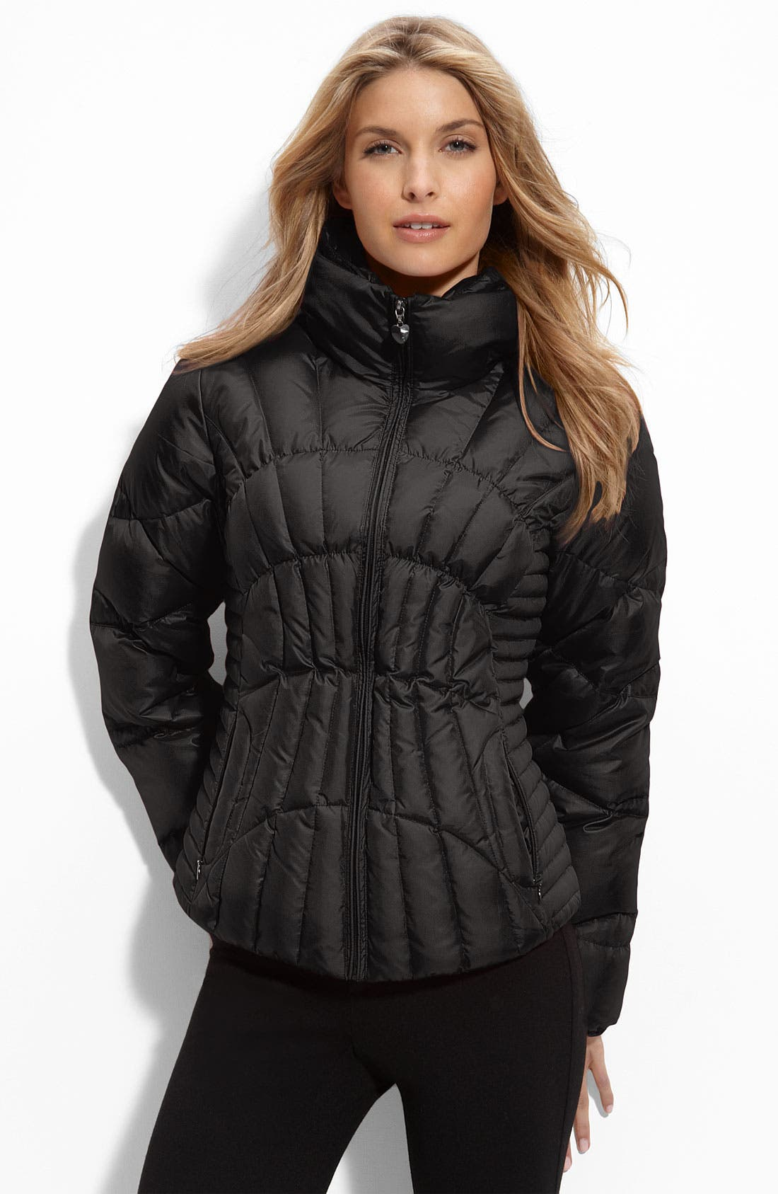 GUESS,                             Quilted Puffer Jacket,                             Main thumbnail 1, color,                             001