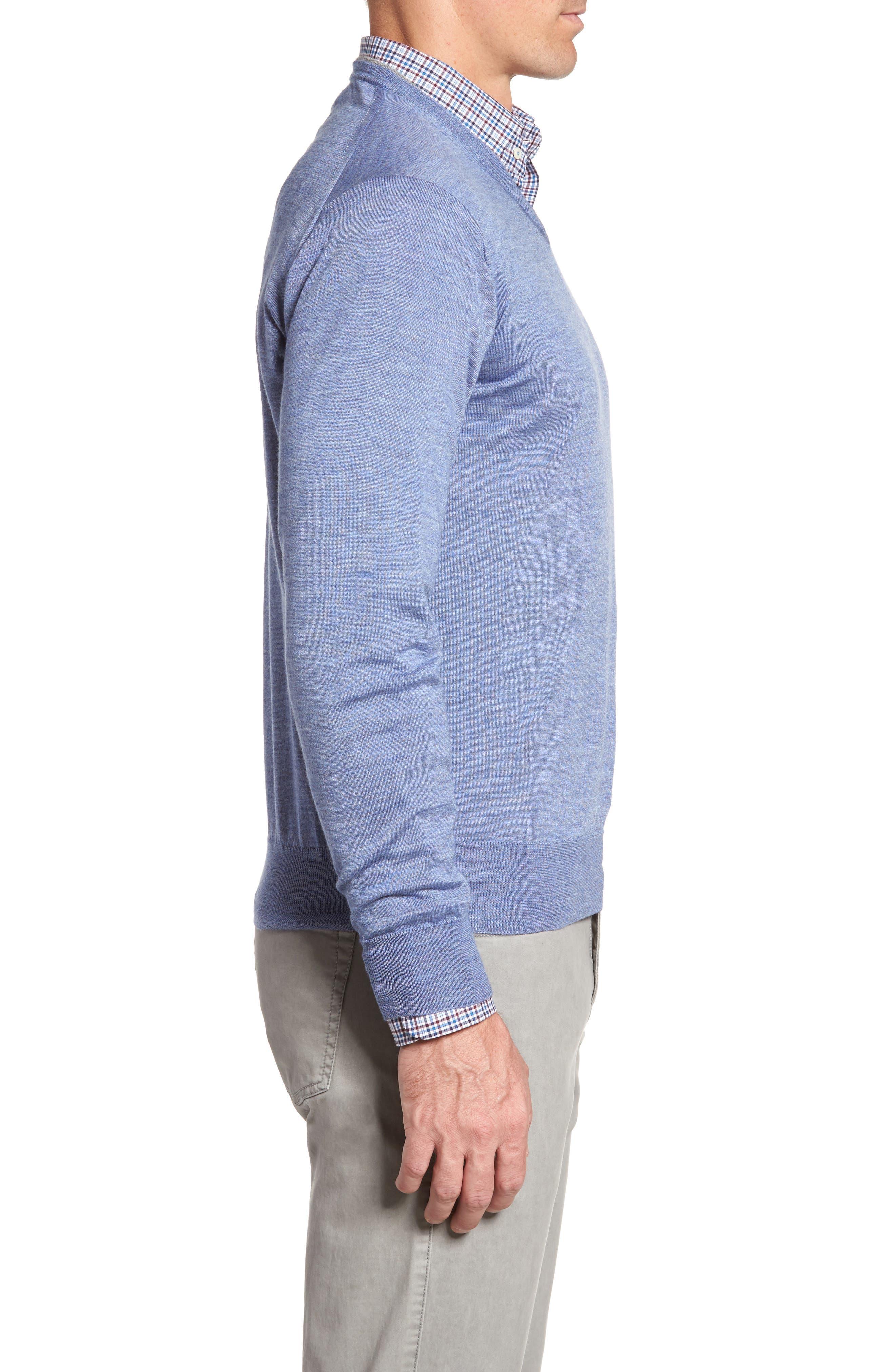 Merino Wool & Silk V-Neck Sweater,                             Alternate thumbnail 3, color,                             439