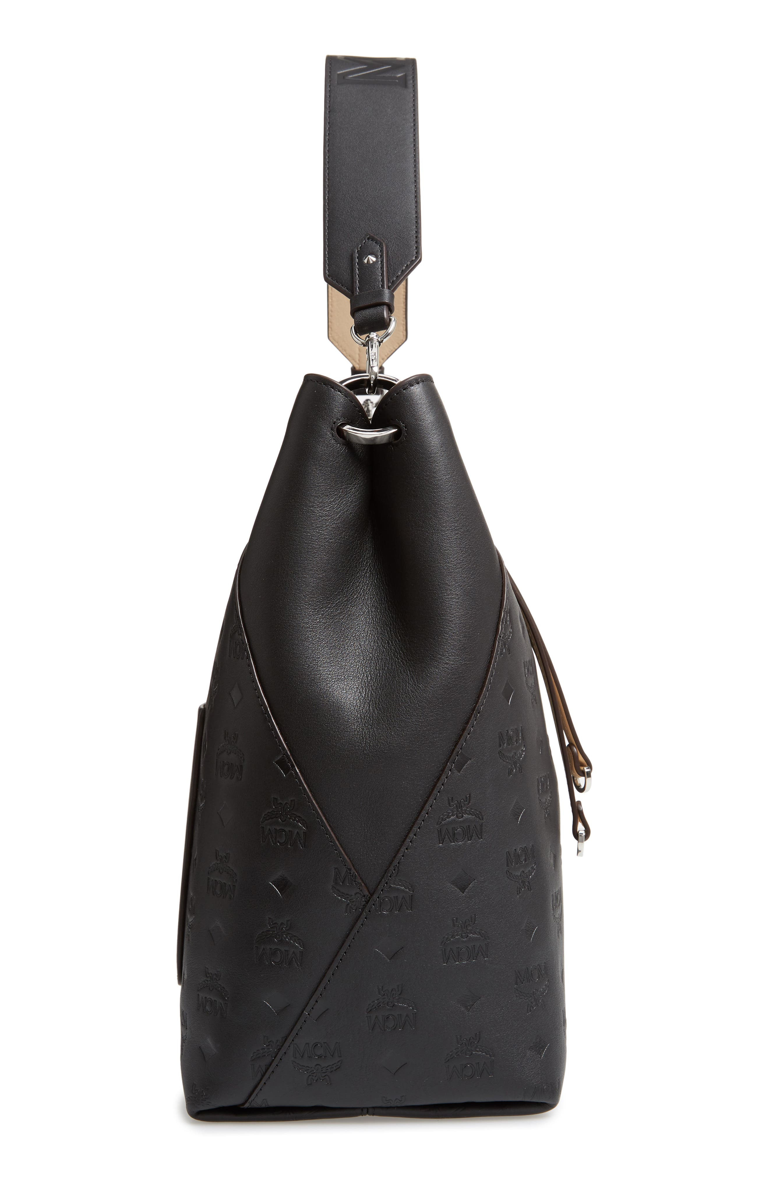 Large Klara Monogram Leather Hobo,                             Alternate thumbnail 5, color,                             BLACK