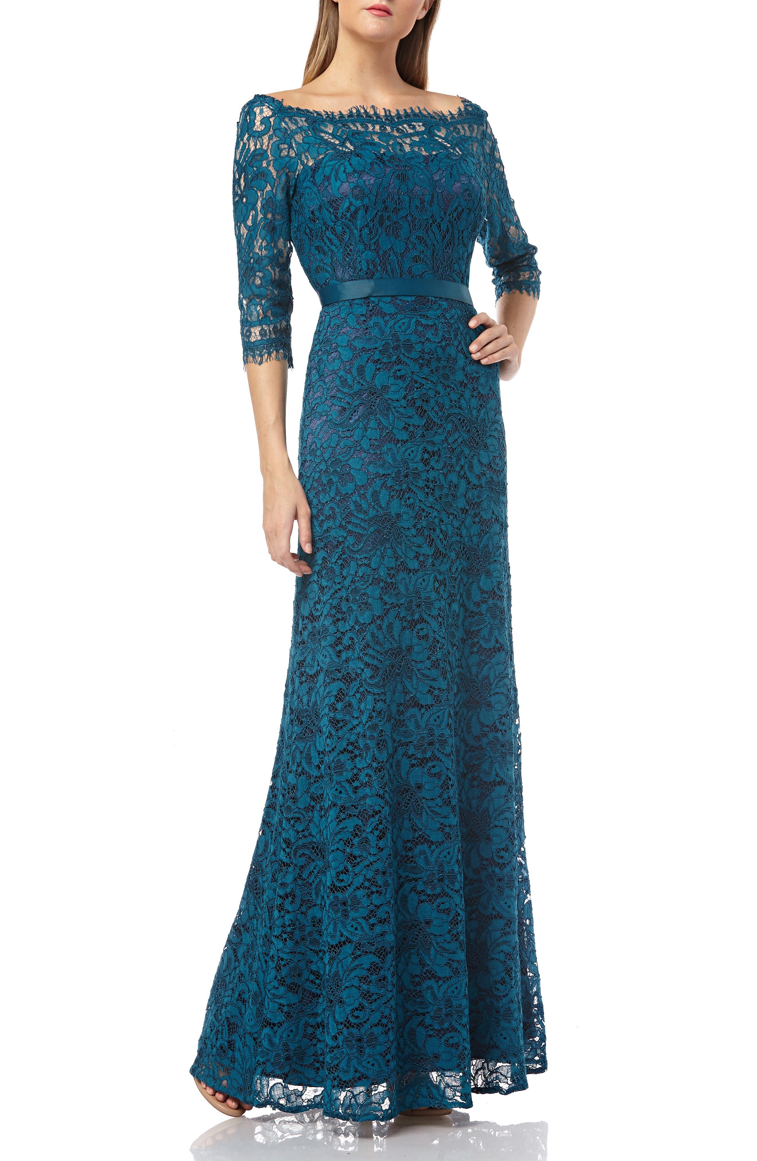 JS COLLECTIONS,                             Bateau Neck Lace Gown,                             Main thumbnail 1, color,                             TURQOISE NAVY