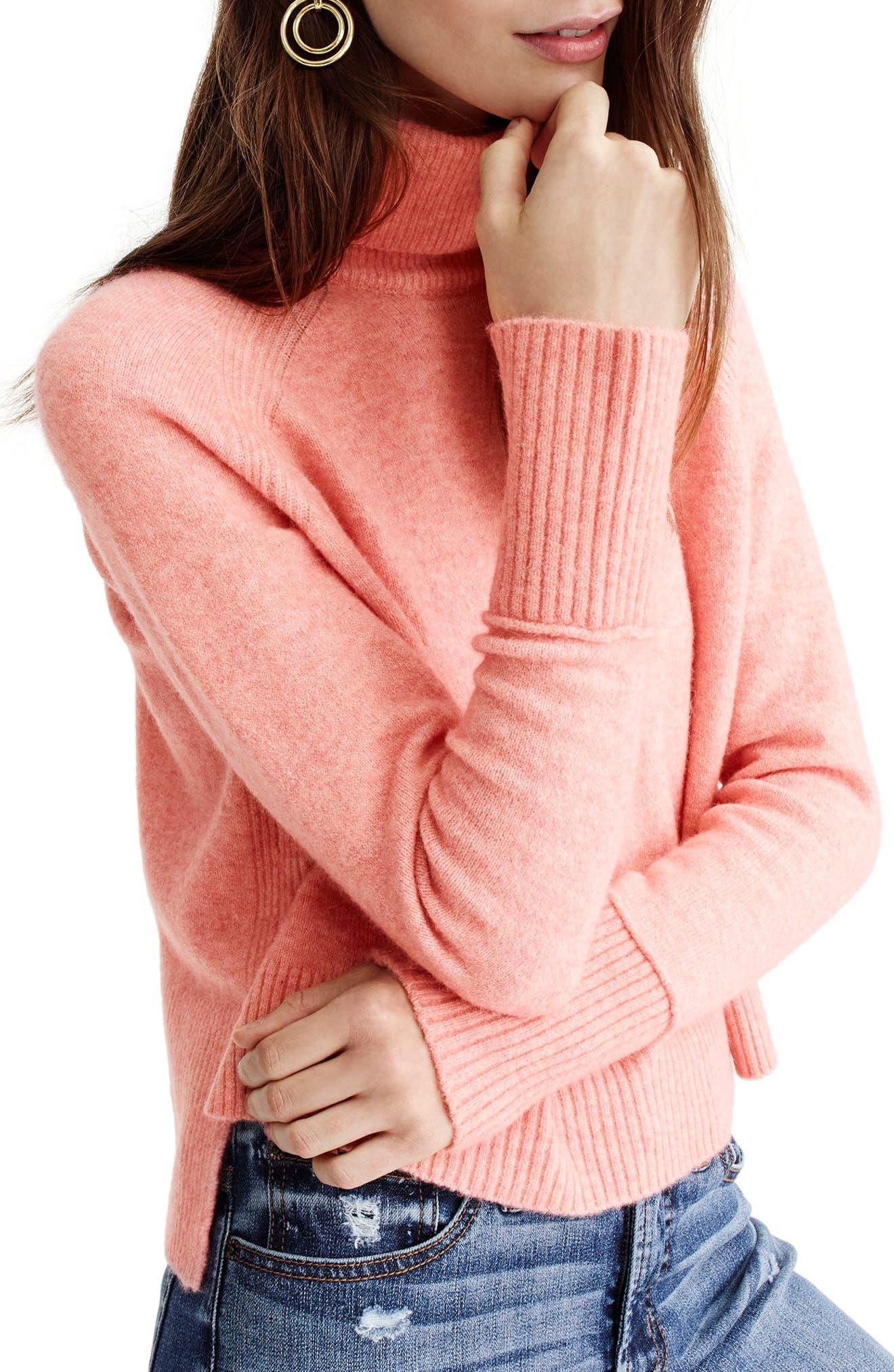 Side Slit Supersoft Turtleneck Sweater,                             Alternate thumbnail 6, color,