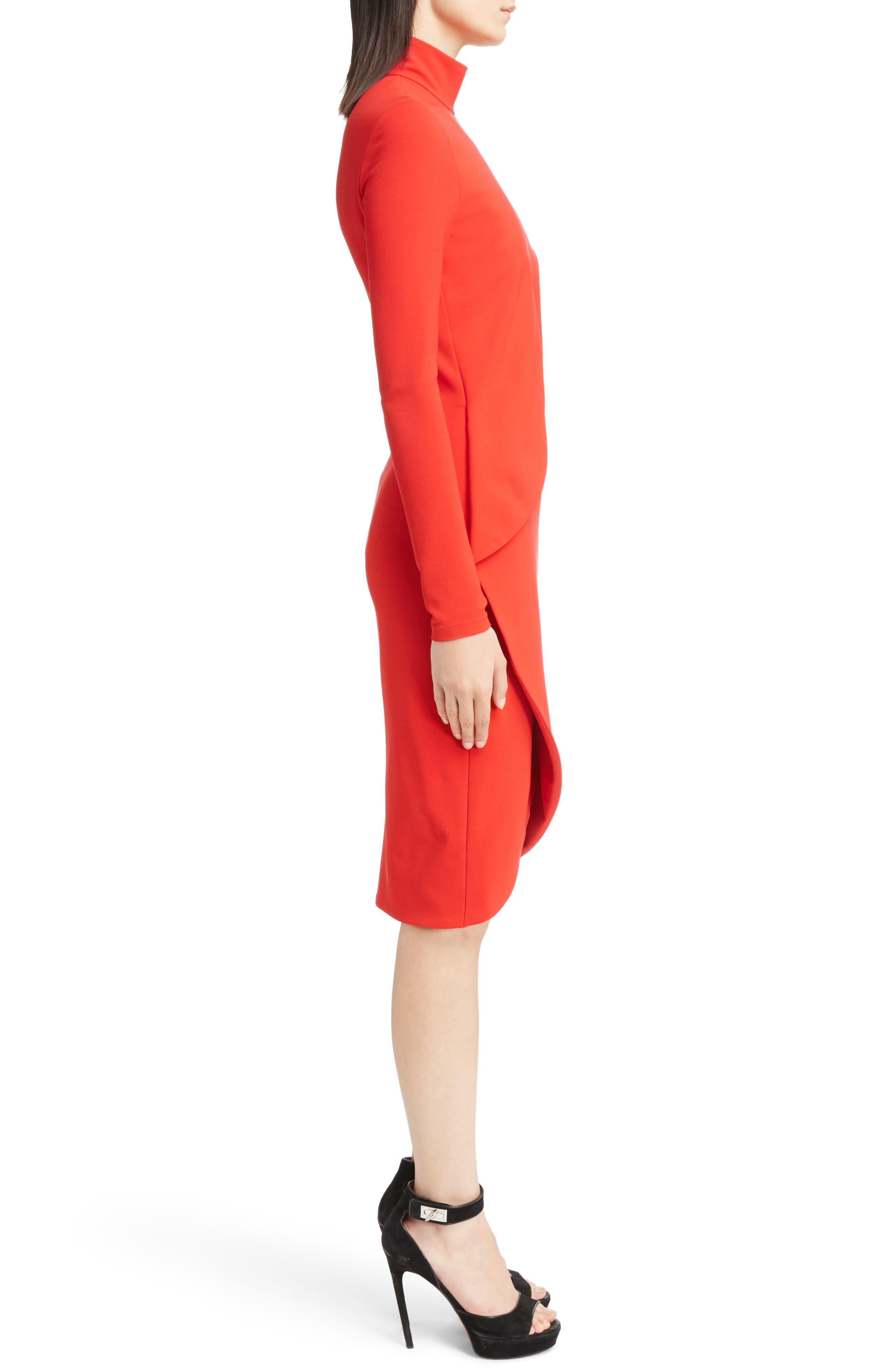 Jersey Turtleneck Tulip Hem Dress,                             Alternate thumbnail 3, color,                             620