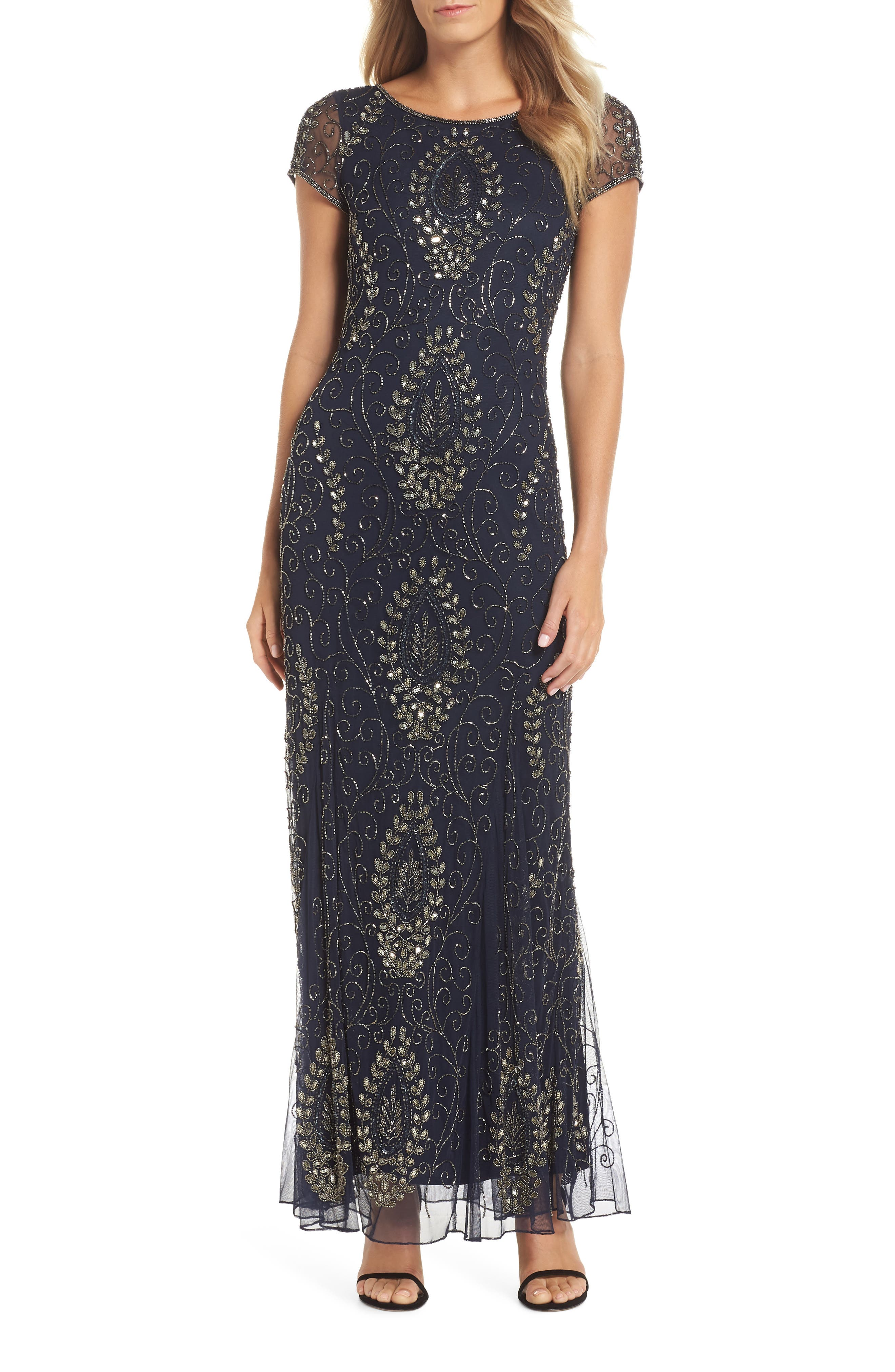 Embellished Mesh Gown,                             Main thumbnail 1, color,                             410