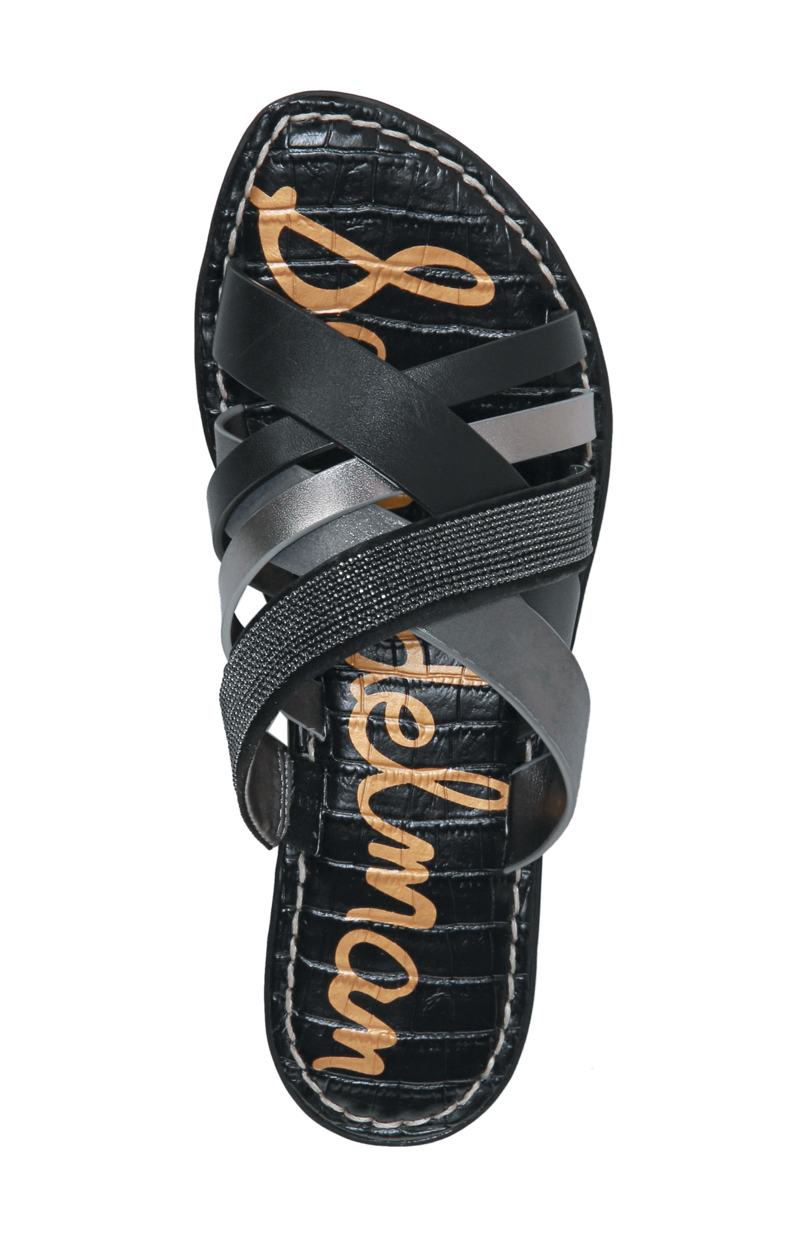 Glennia Slide Sandal,                             Alternate thumbnail 5, color,                             DARK PEWTER/ BLACK LEATHER