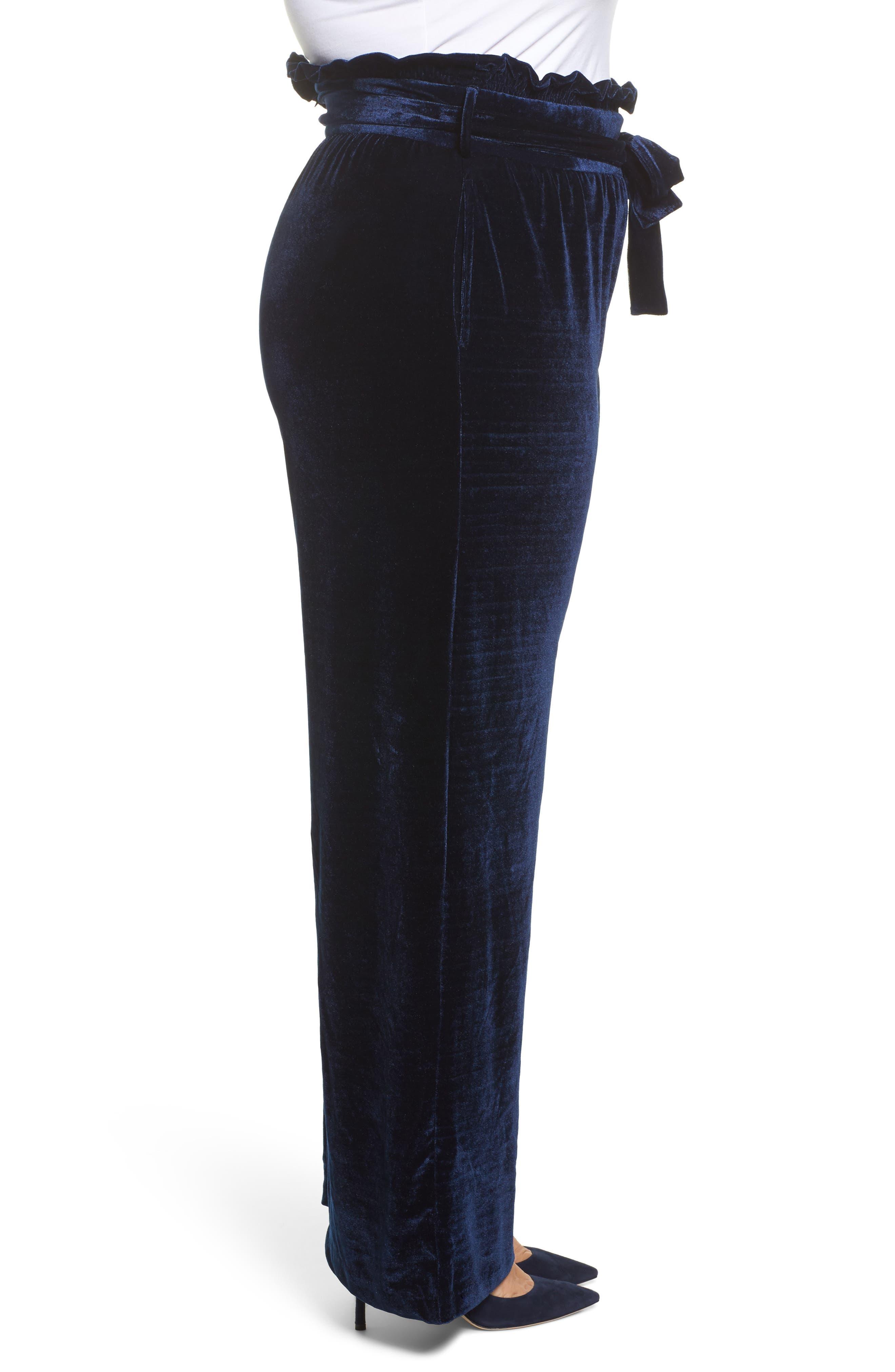 Wide Leg Velvet Pants,                             Alternate thumbnail 3, color,                             401