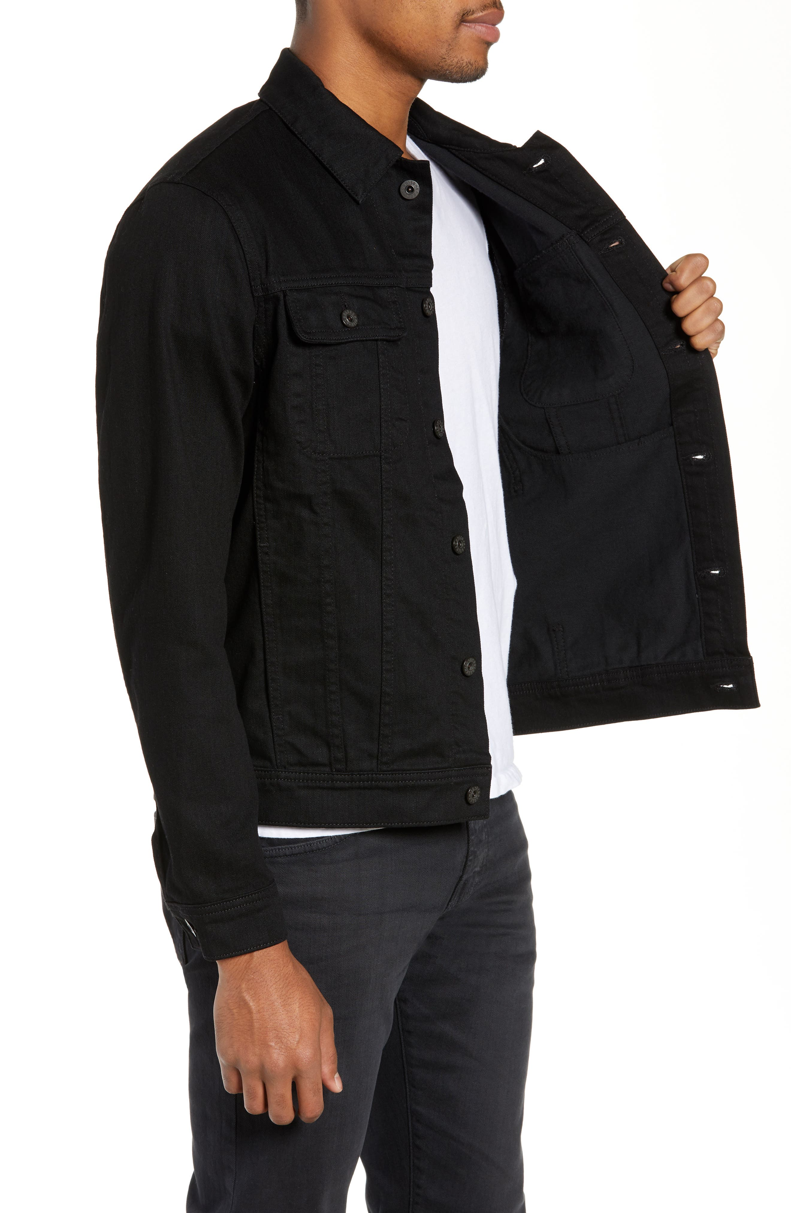AG,                             Dart Denim Jacket,                             Alternate thumbnail 4, color,                             DEEP PITCH