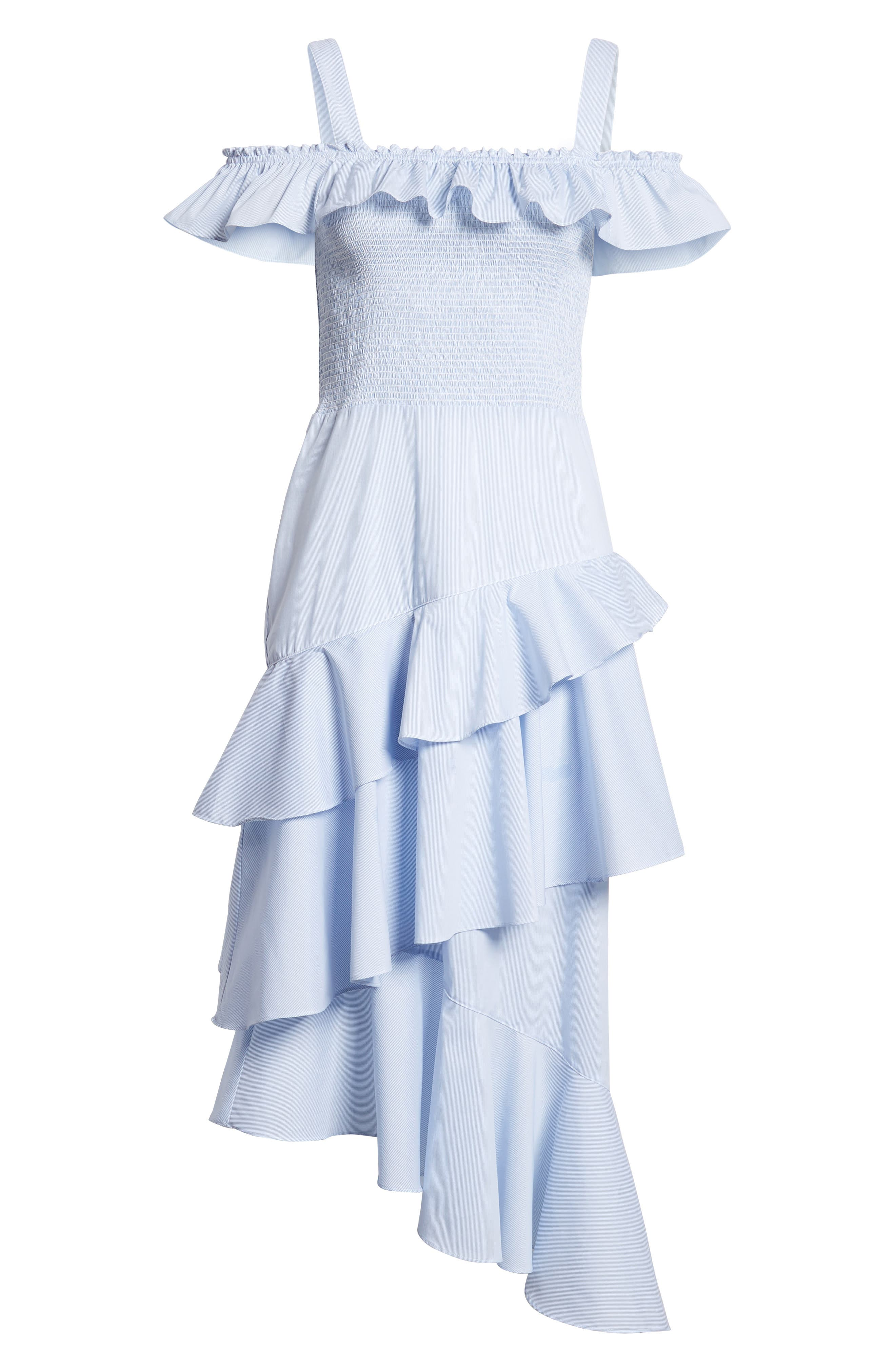 Ruffle Smocked Cold Shoulder Dress,                             Alternate thumbnail 6, color,                             420