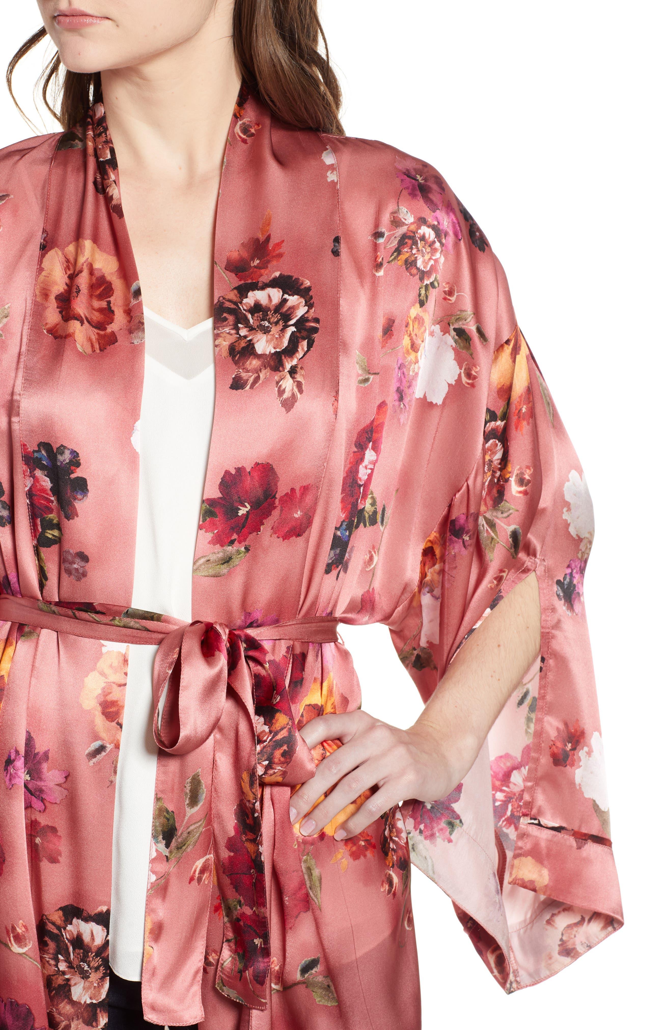 Print Long Silk Kimono,                             Alternate thumbnail 4, color,                             PINK AUTUMN BOUQUET