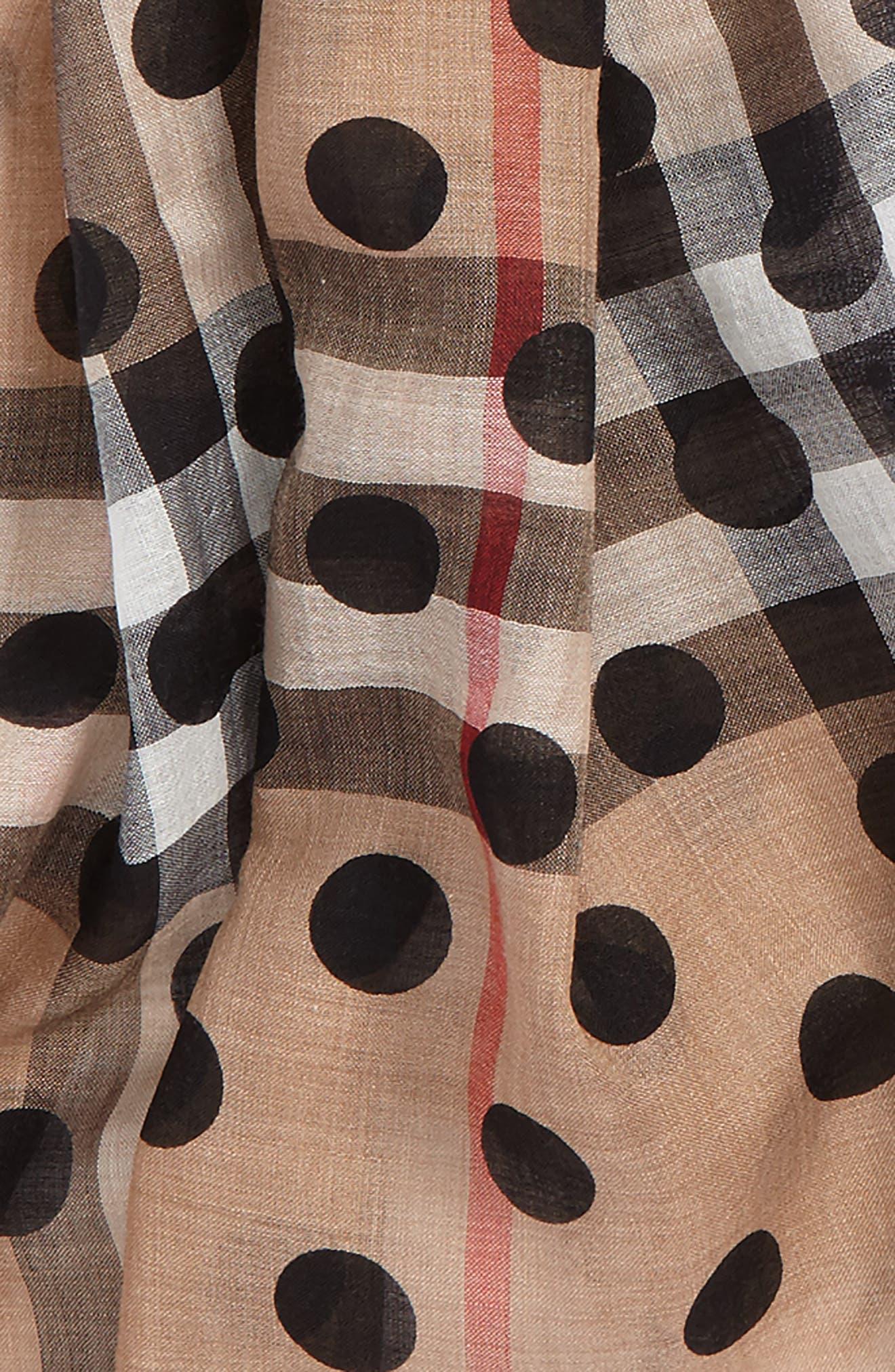 Dot & Giant Check Wool & Silk Gauze Scarf,                             Alternate thumbnail 4, color,                             650