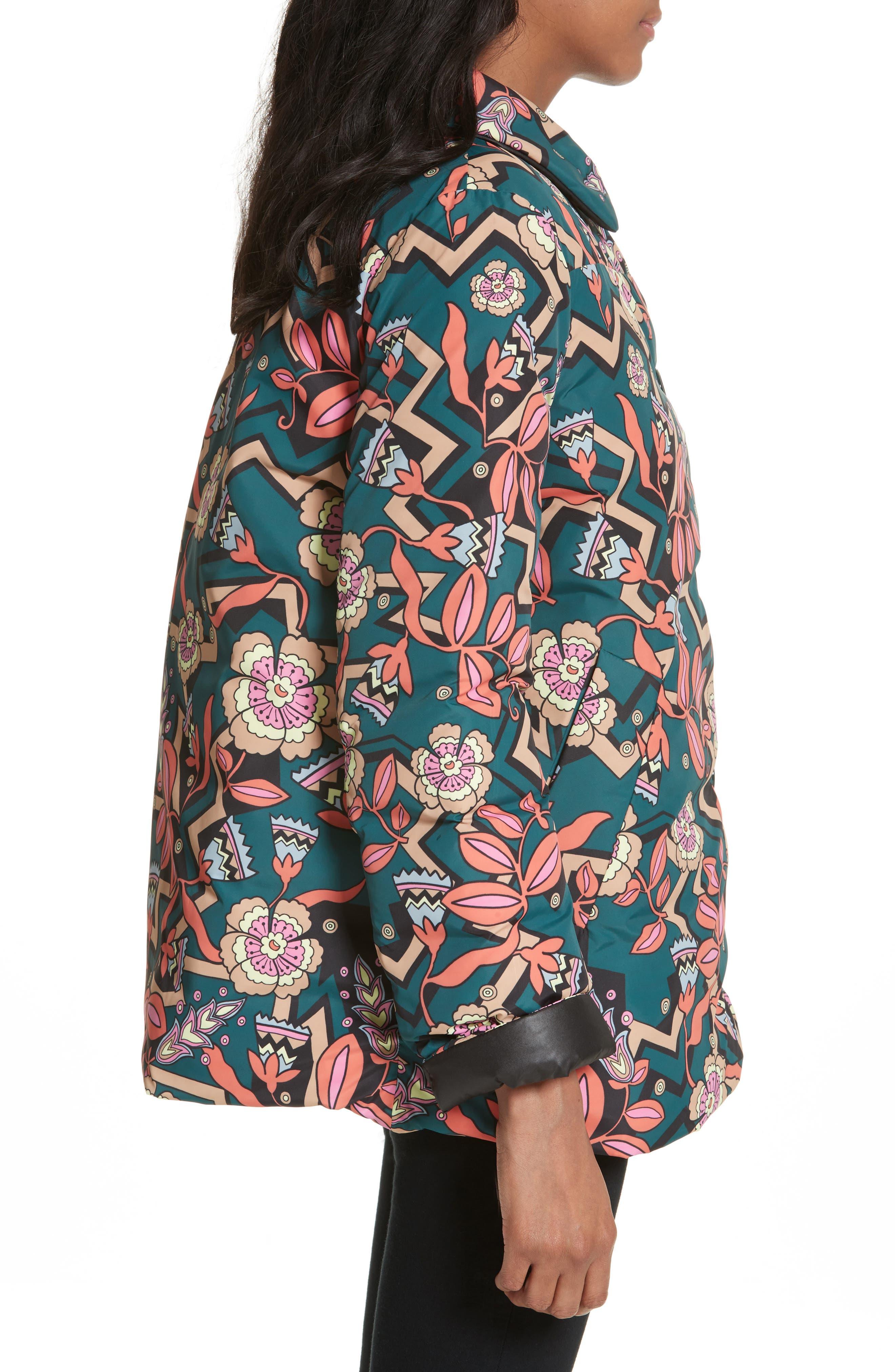 Reversible Printed Puffer Jacket,                             Alternate thumbnail 3, color,