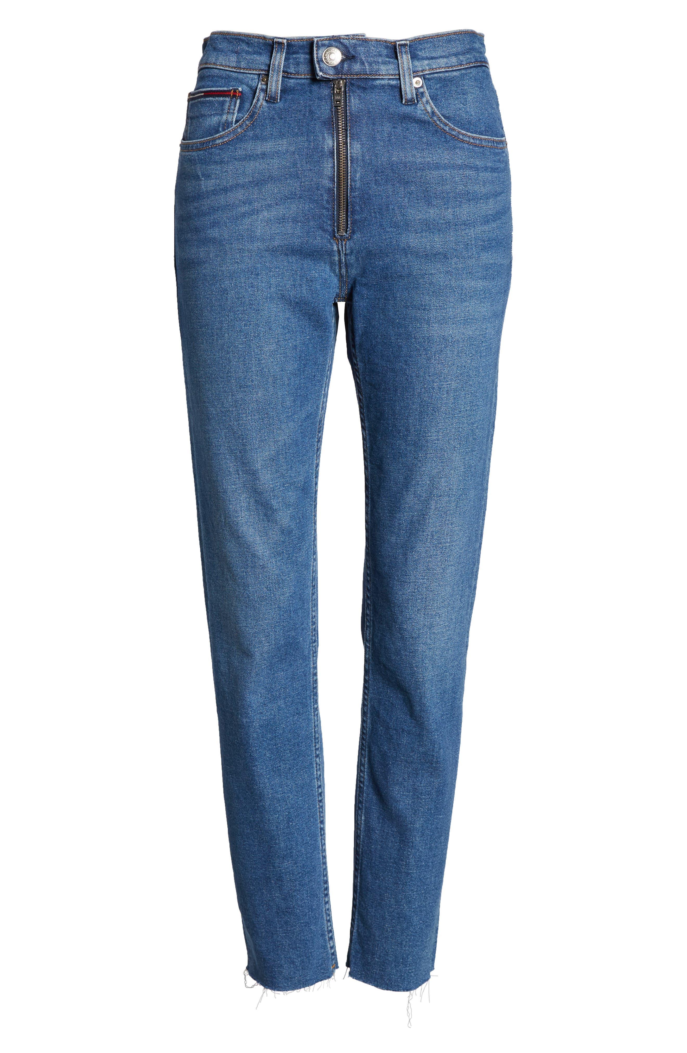 Izzy High Waist Slim Crop Jeans,                             Alternate thumbnail 7, color,                             400