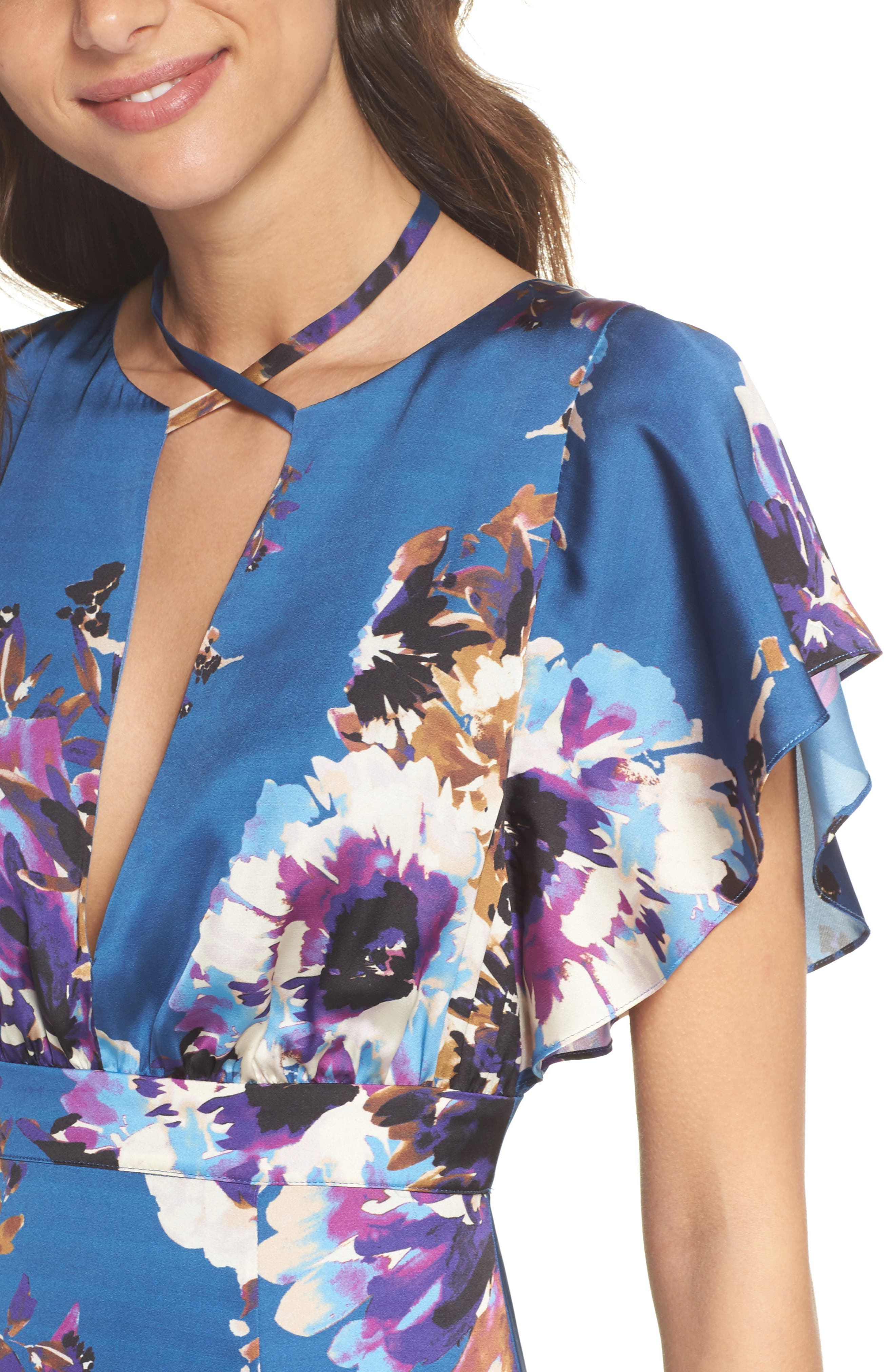 Floral Maxi Dress,                             Alternate thumbnail 4, color,                             425