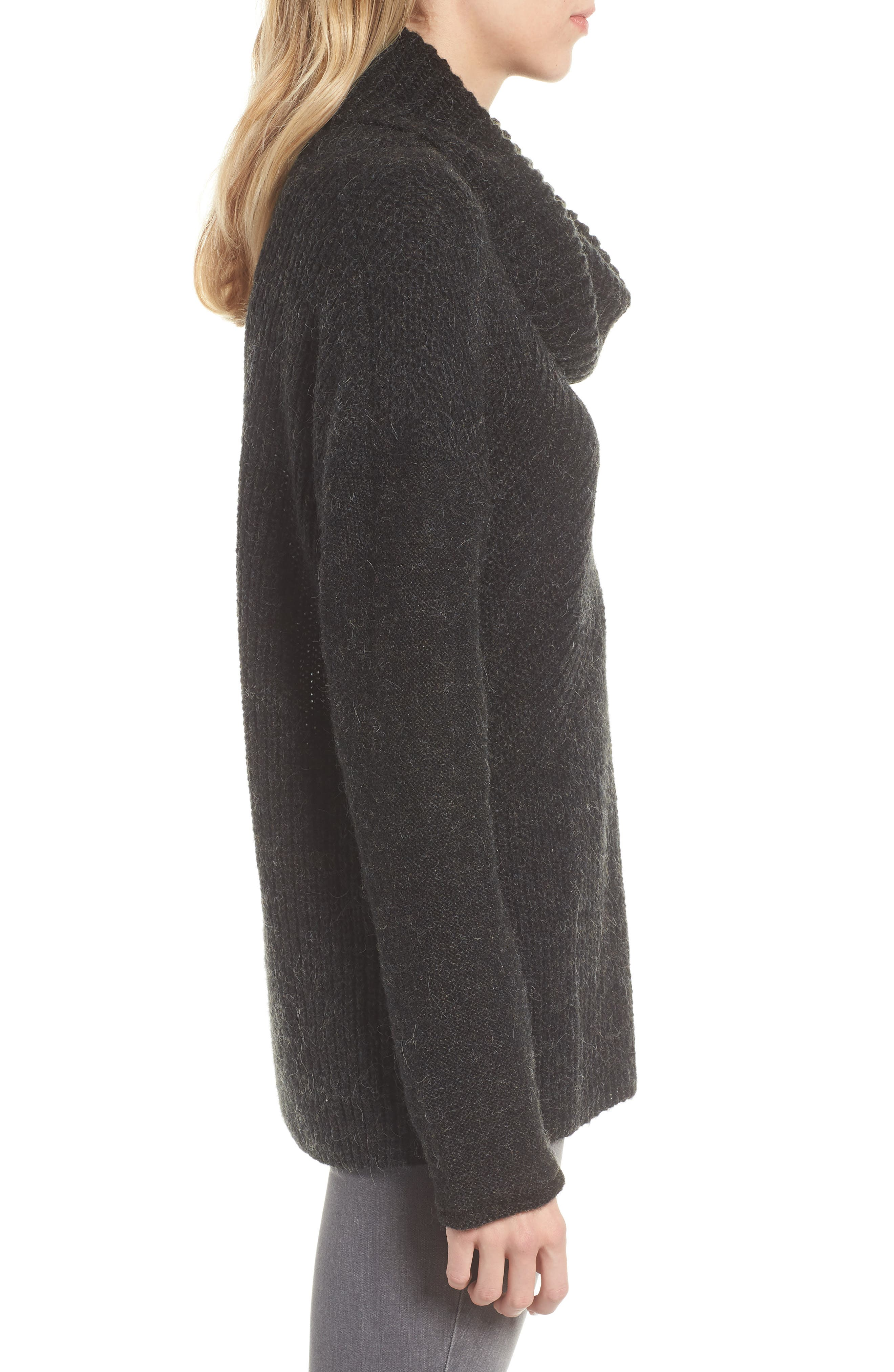 Mix Stitch Funnel Neck Wool Blend Sweater,                             Alternate thumbnail 3, color,                             001