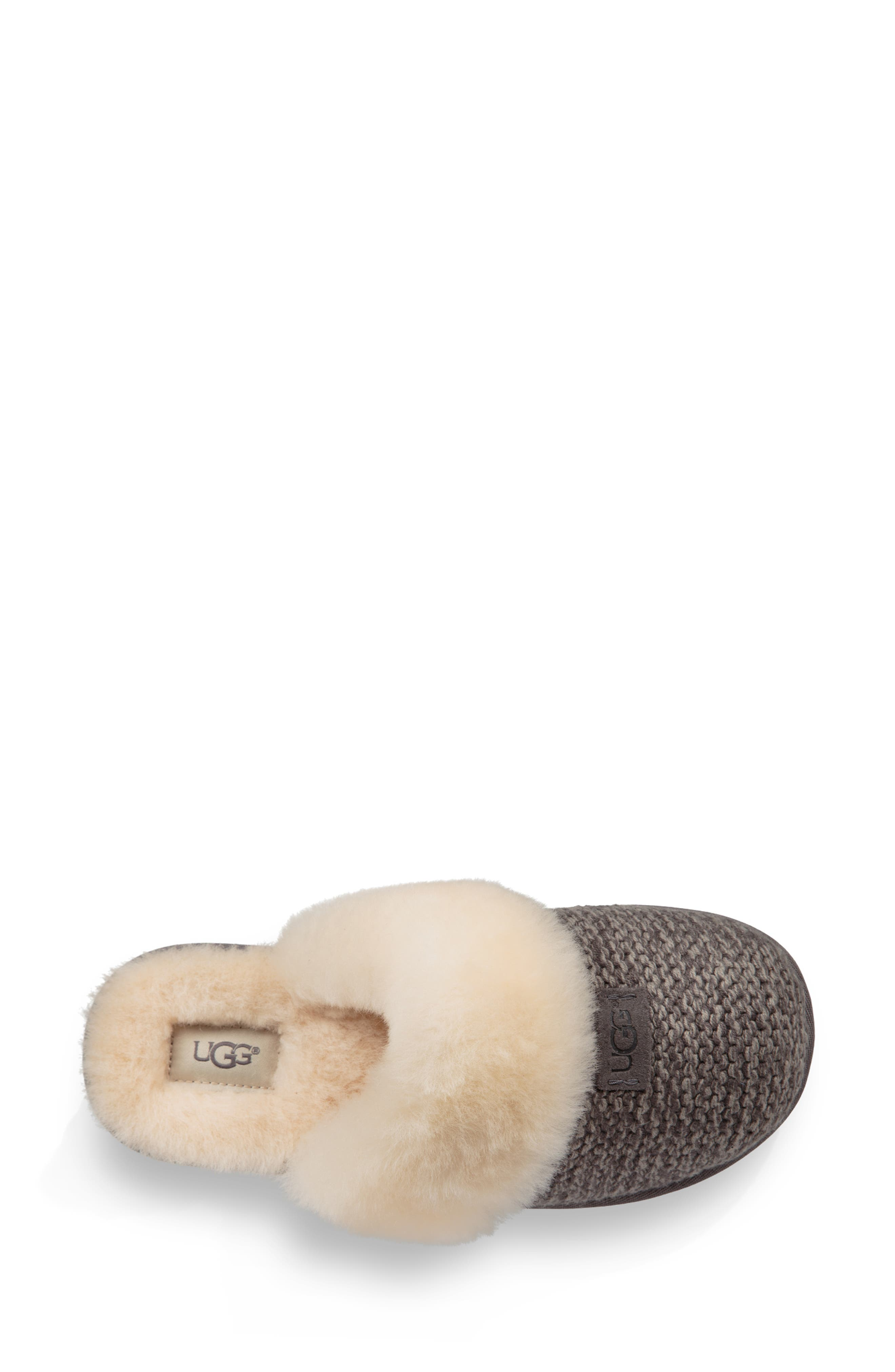 Cozy Knit Genuine Shearling Slipper,                             Alternate thumbnail 4, color,                             CHARCOAL