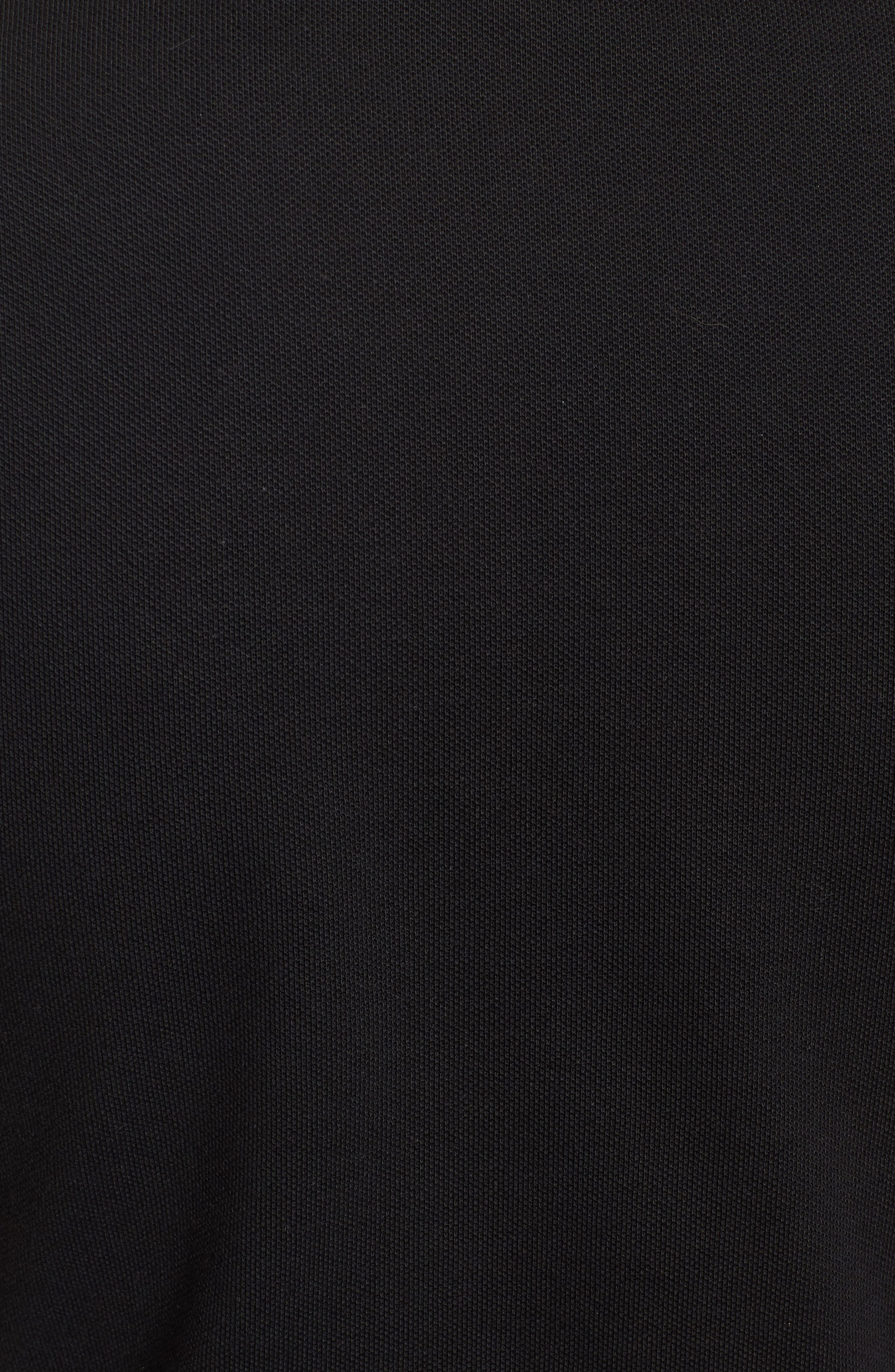 Crop Stretch Cotton Polo Shirt,                             Alternate thumbnail 5, color,                             001