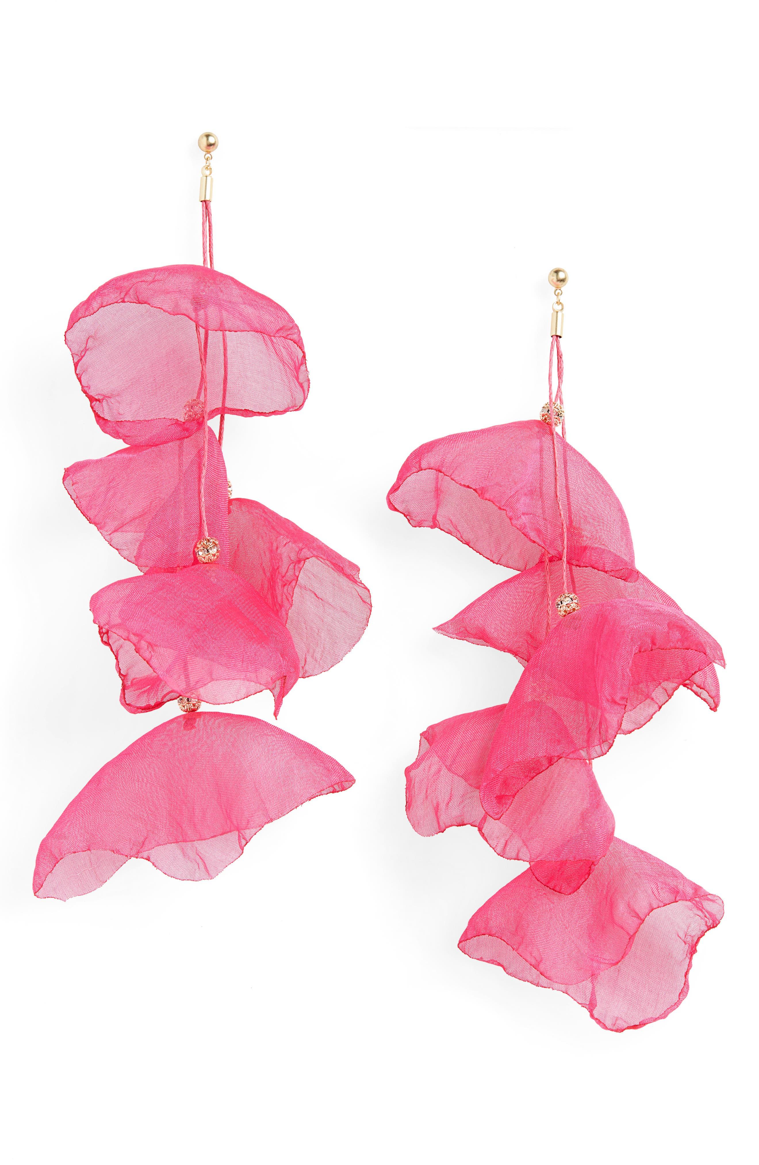 STELLA + RUBY Petal Chiffon Statement Earrings, Main, color, GOLD/ MAGENTA
