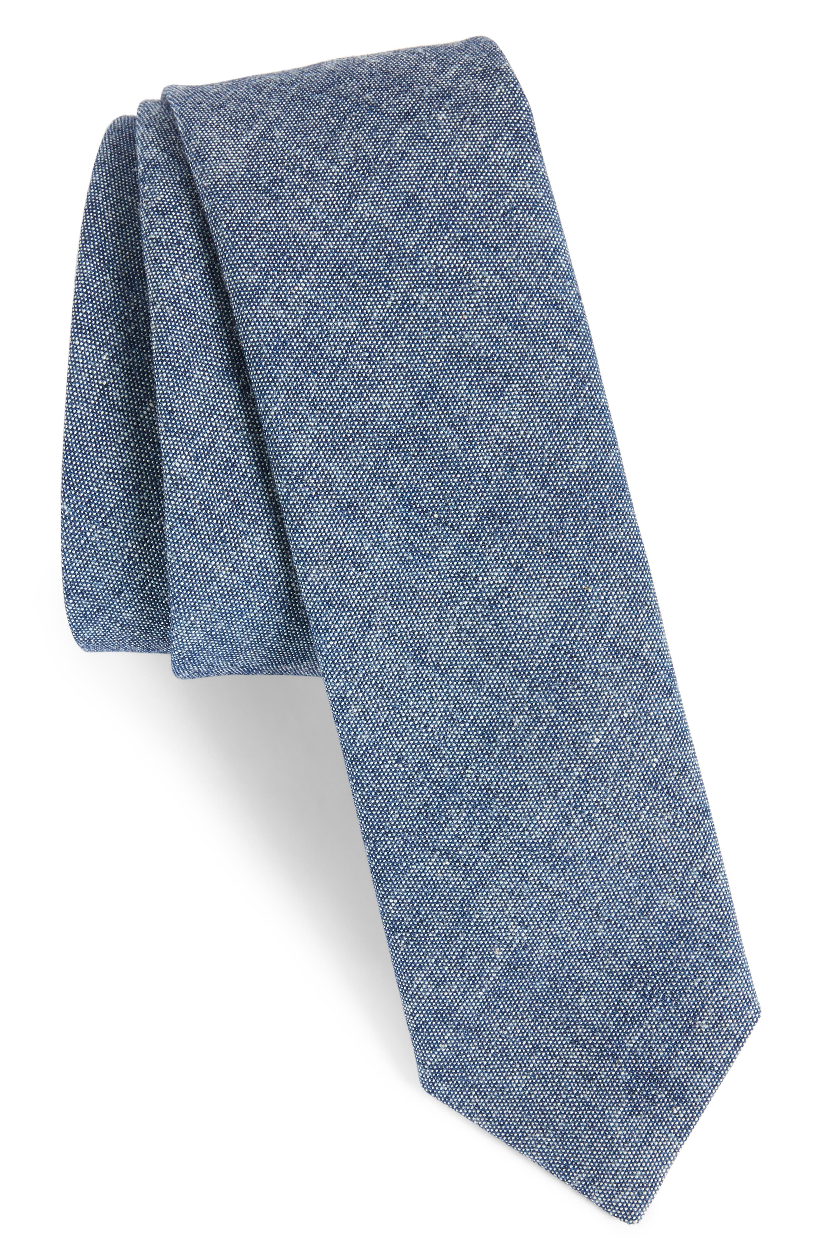 Marled Cotton Skinny Tie,                             Main thumbnail 1, color,