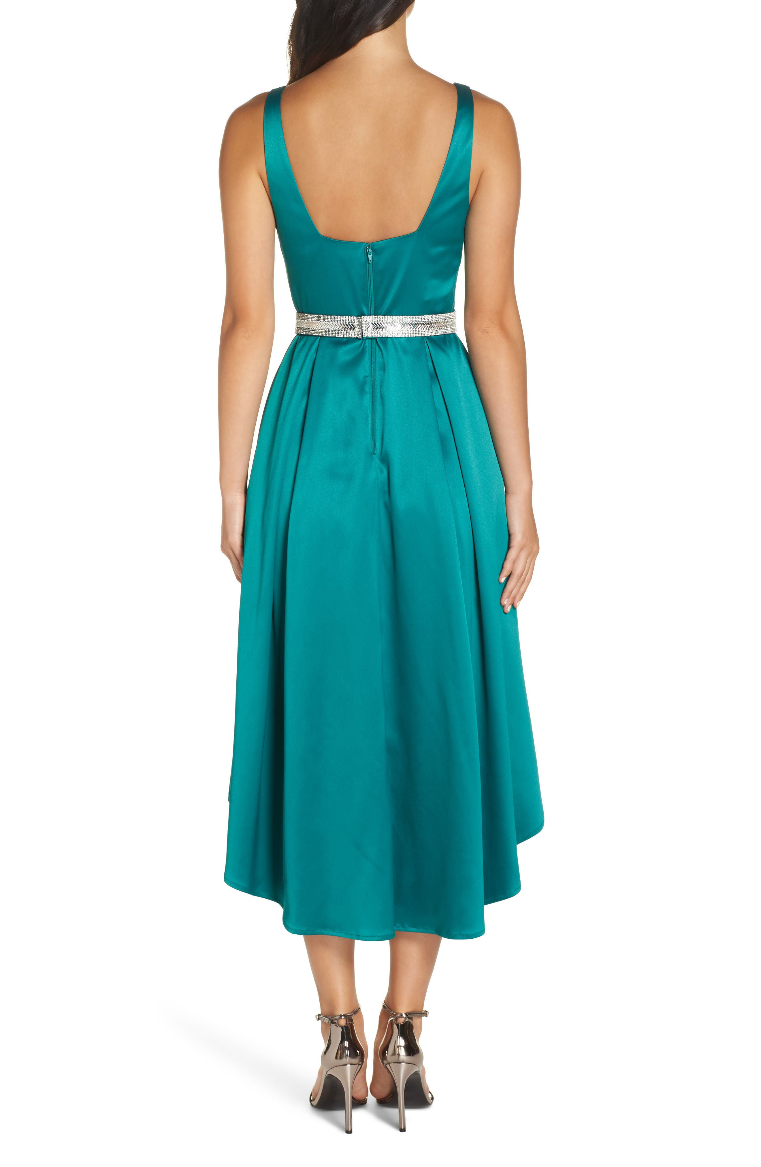 Belted Stretch Satin High/Low Dress,                             Alternate thumbnail 2, color,                             EMERALD