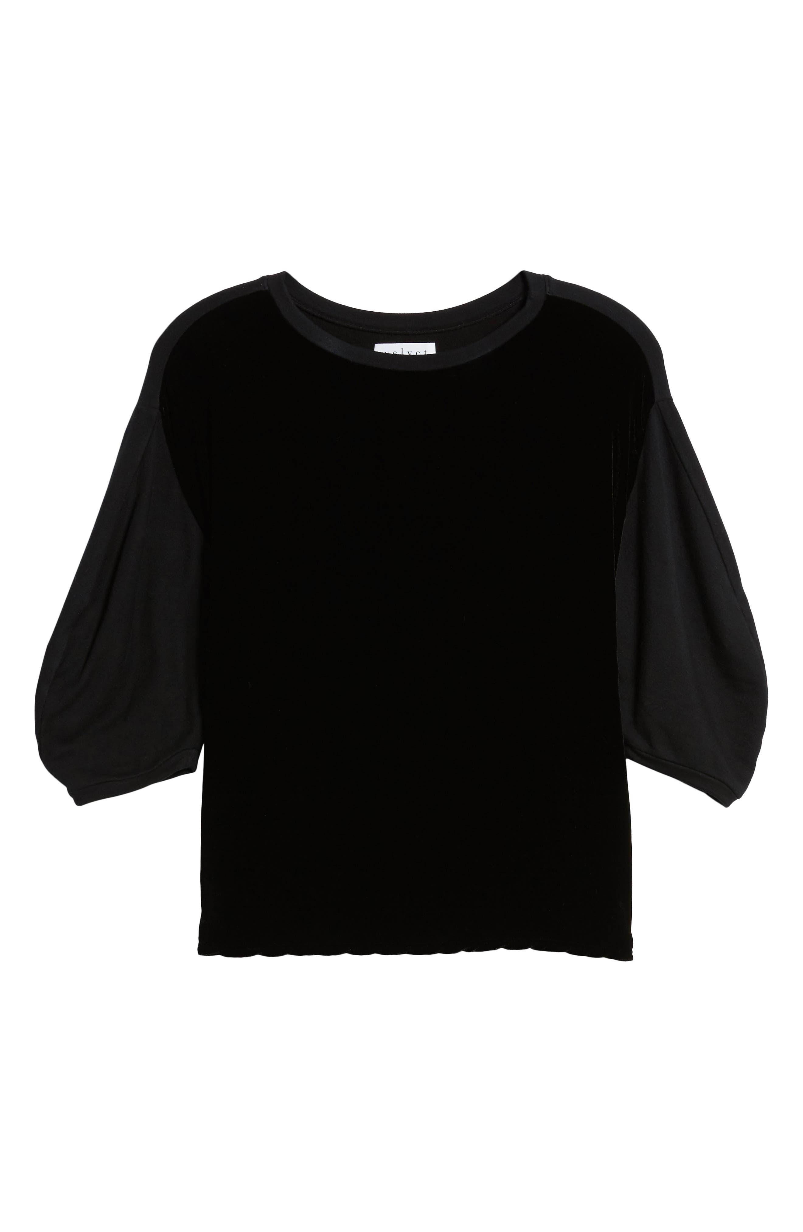 Velvet & Fleece Half Sleeve Top,                             Alternate thumbnail 6, color,                             BLACK