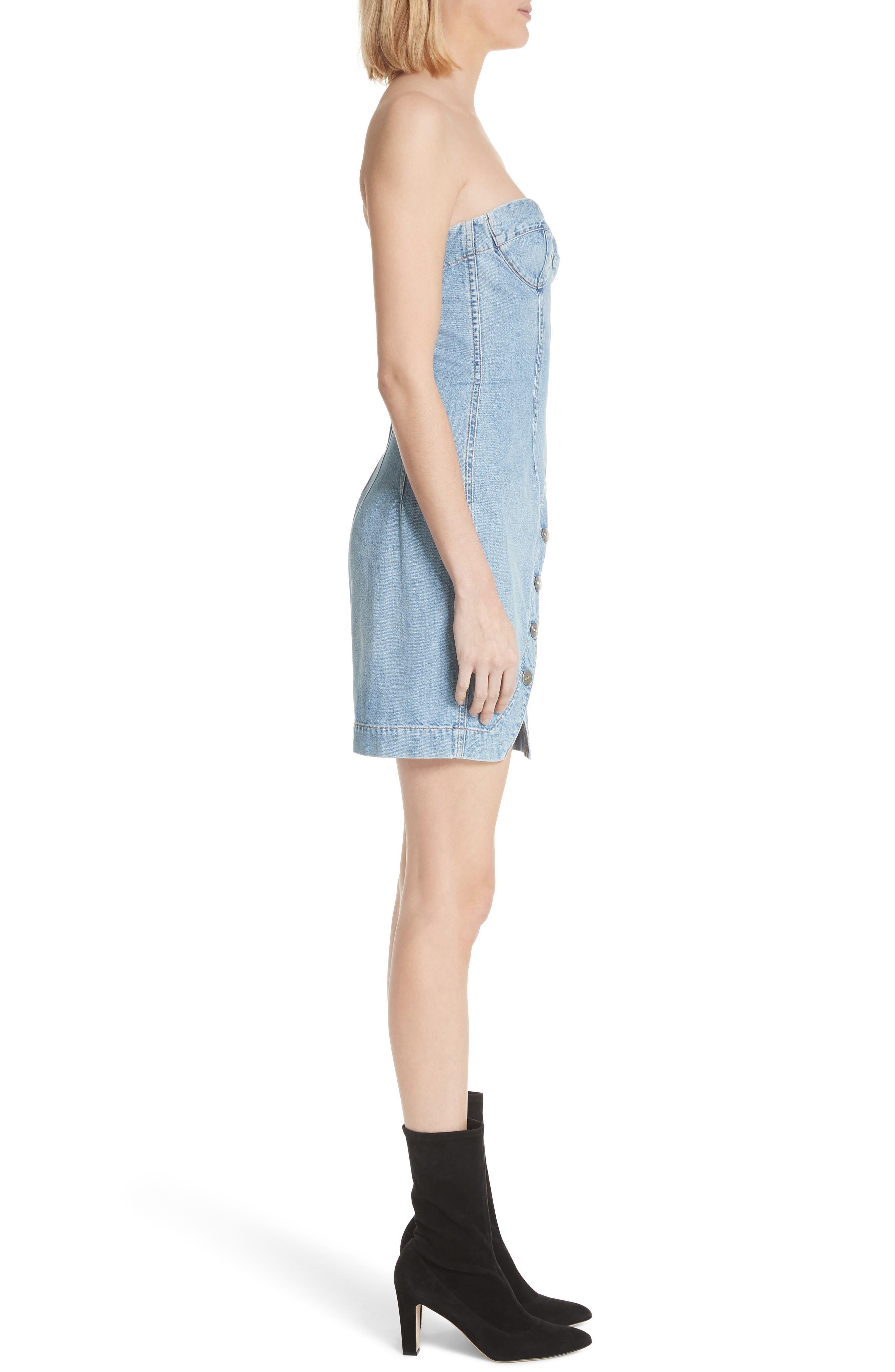 Claudia Strapless Denim Dress,                             Alternate thumbnail 3, color,                             459