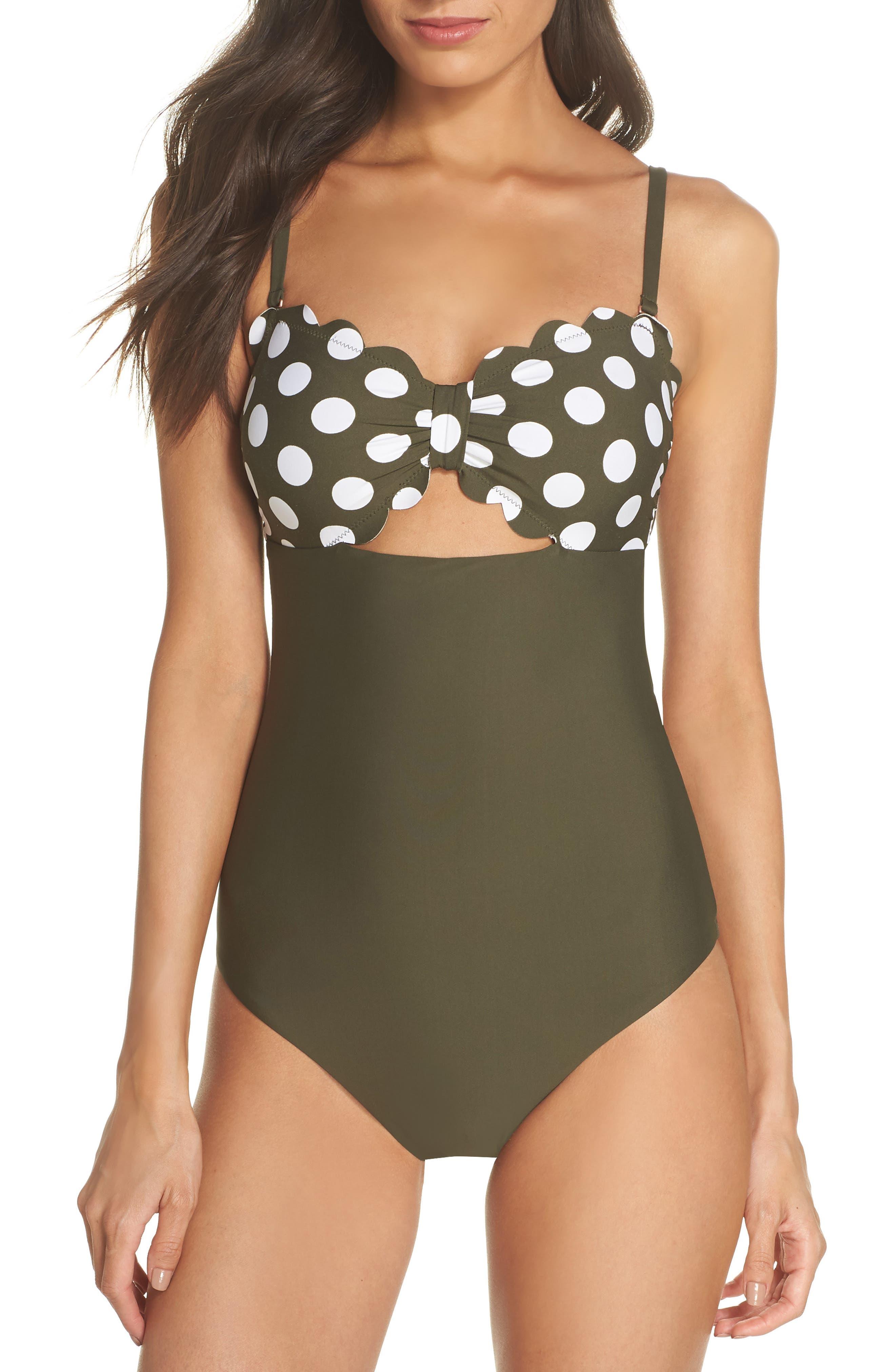 Scallop Bandeau One-Piece Swimsuit,                             Alternate thumbnail 2, color,                             OLIVE SARMA/ IVORY EGRET DOT