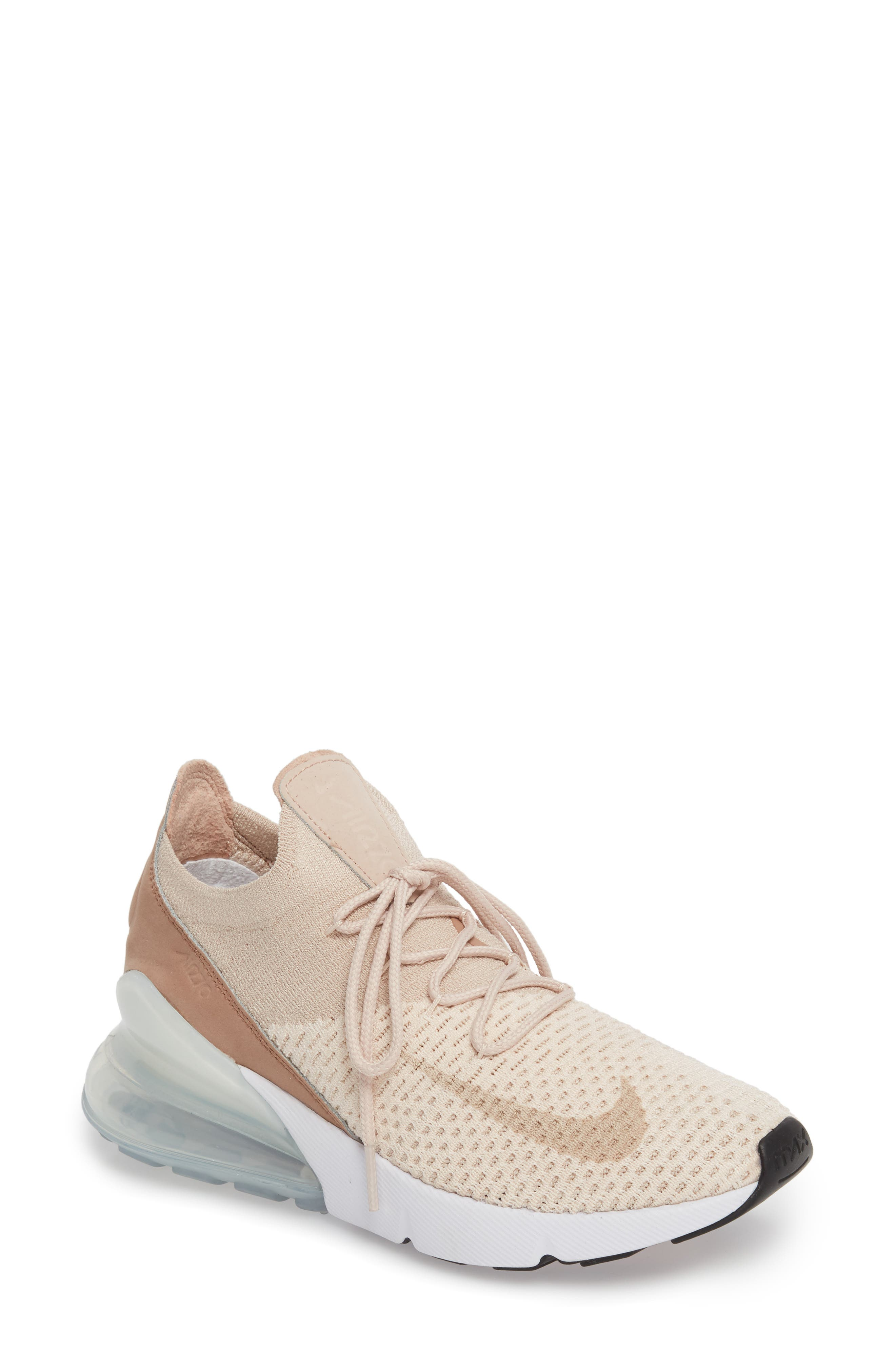 Air Max 270 Flyknit Sneaker,                         Main,                         color, GUAVA ICE/ BEIGE/ DESERT DUST