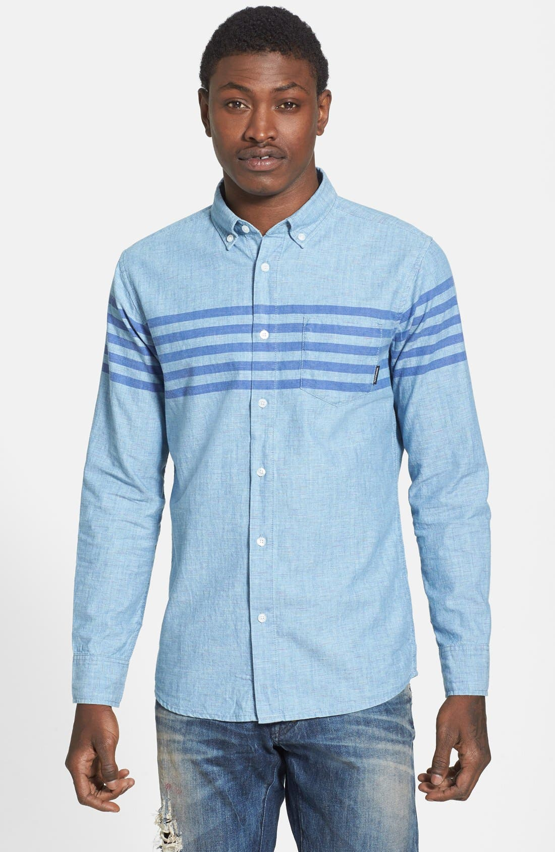 55DSL,                             'Stendard 55' Chest Stripe Print Woven Shirt,                             Main thumbnail 1, color,                             400