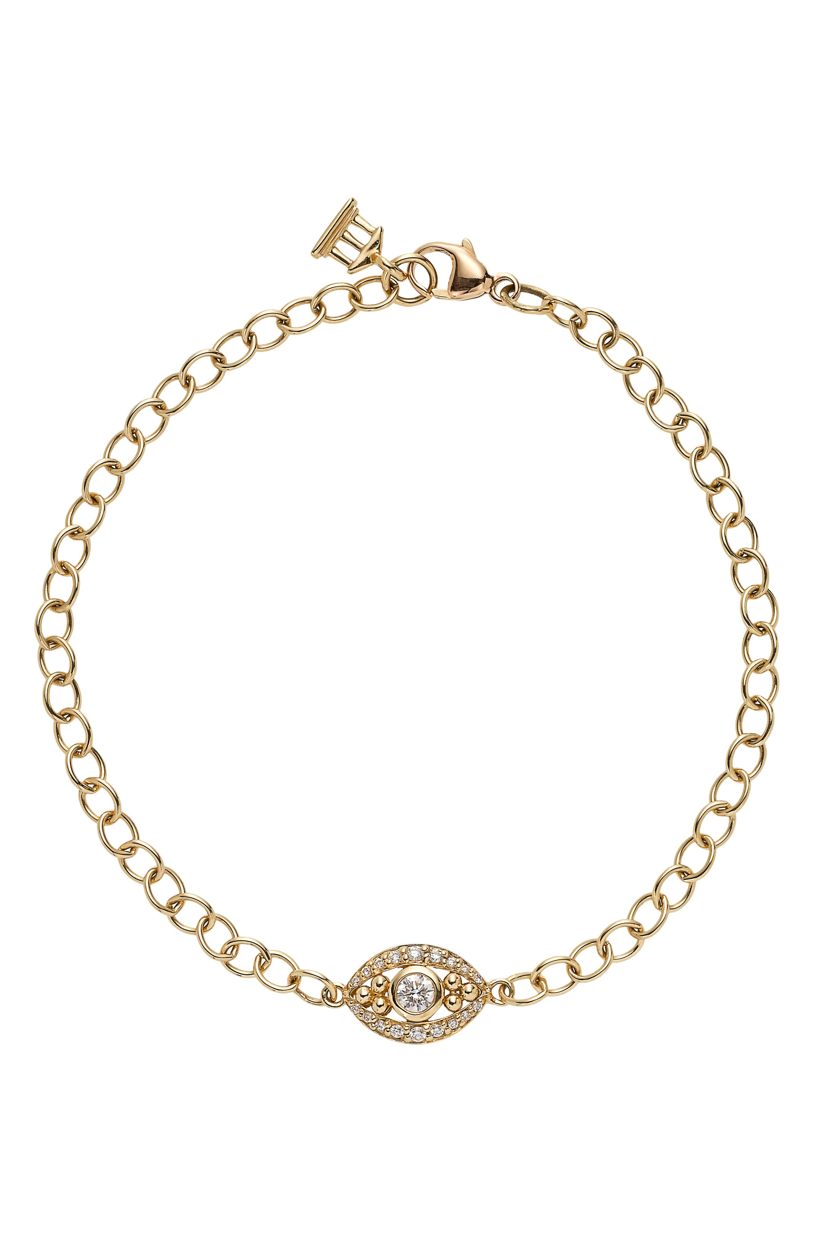 Temple St. Clair Diamond Evil Eye Line Bracelet,                             Main thumbnail 1, color,                             YELLOW GOLD