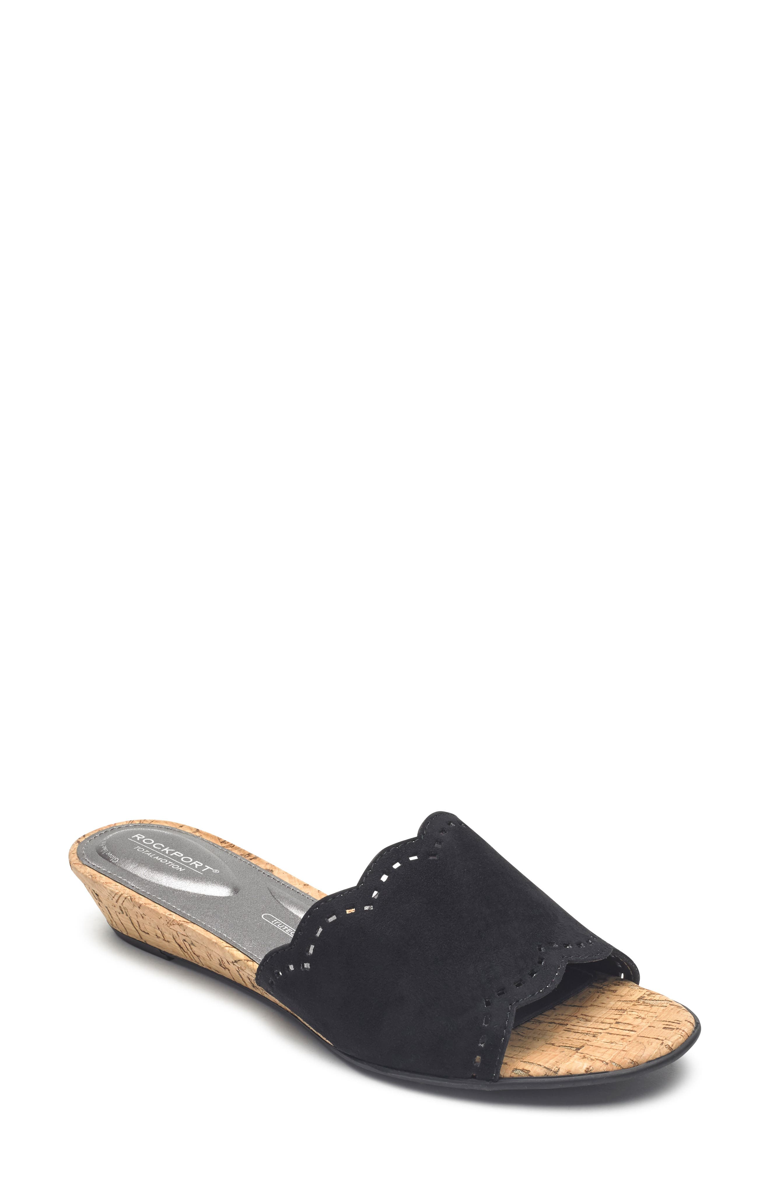Zandra Total Motion<sup>®</sup> Slide Sandal,                             Main thumbnail 1, color,                             BLACK SUEDE