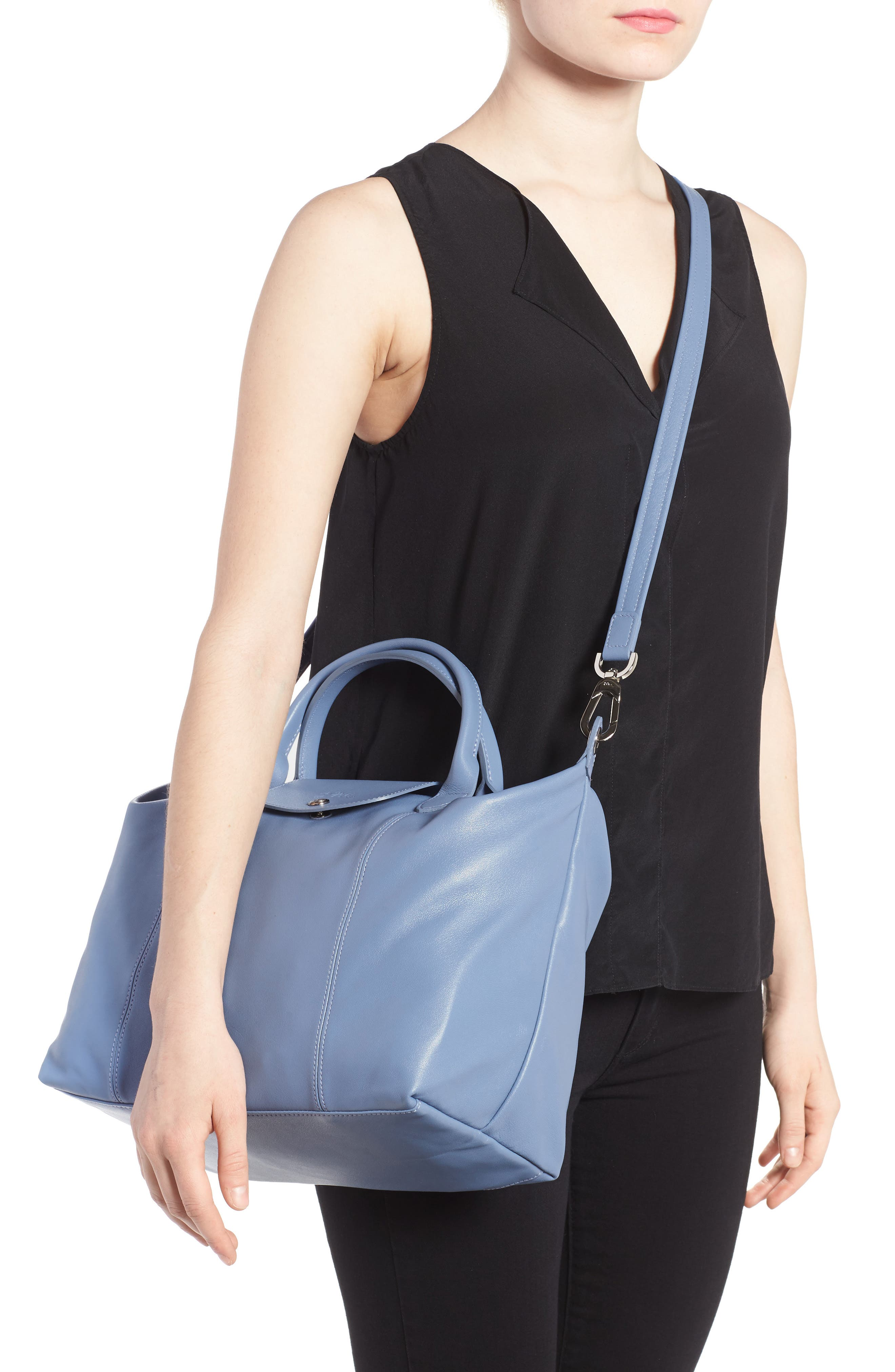 Medium 'Le Pliage Cuir' Leather Top Handle Tote,                             Alternate thumbnail 47, color,