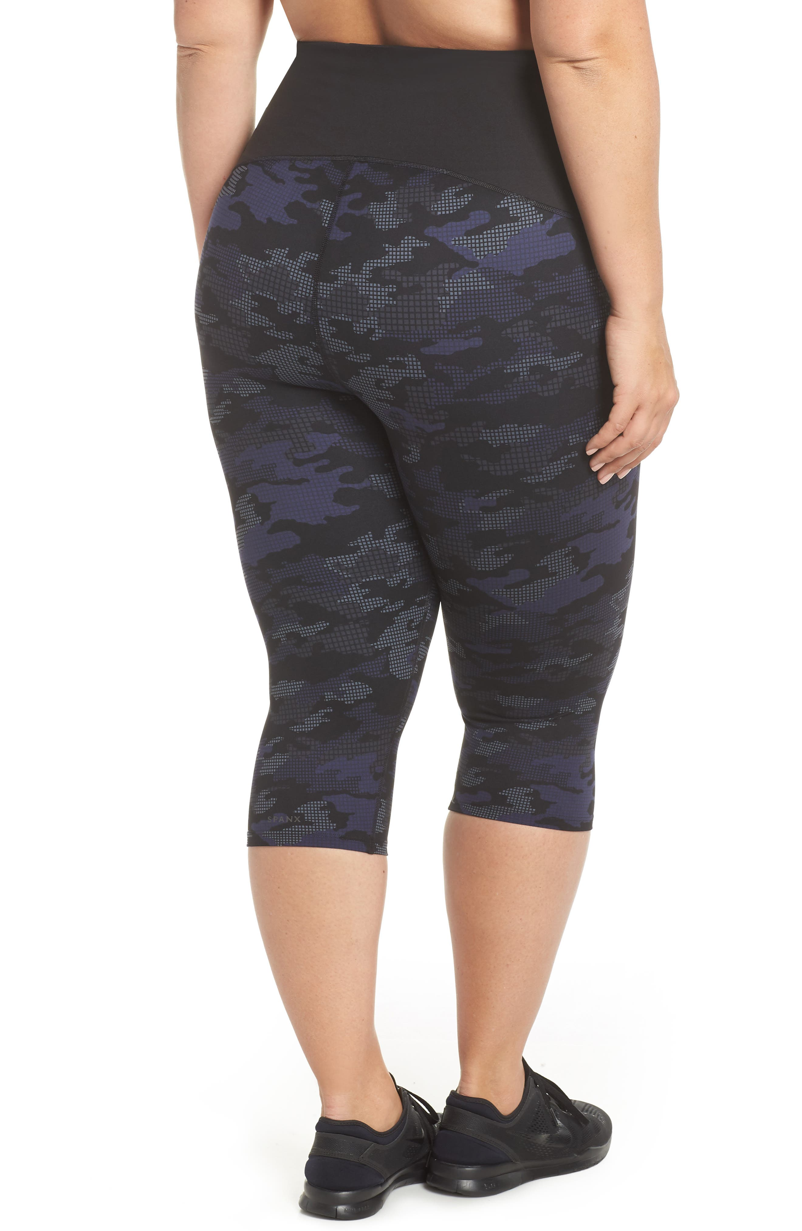 Print Active Crop Leggings,                             Alternate thumbnail 2, color,                             GEO BLUE CAMO