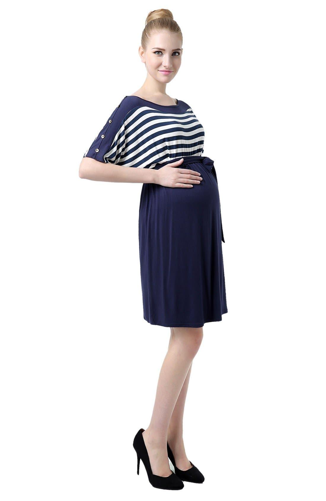 'Willow' Stripe Maternity Dress,                             Alternate thumbnail 3, color,                             419