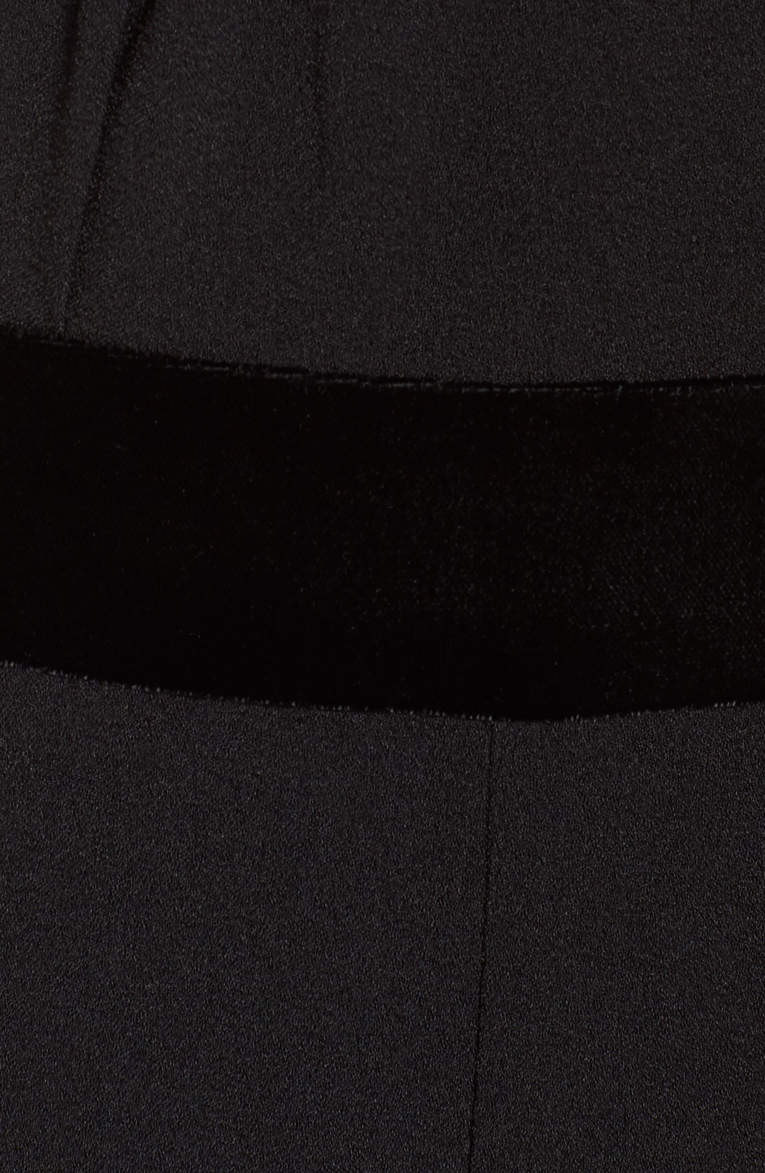 Crepe & Velvet Halter Jumpsuit,                             Alternate thumbnail 5, color,