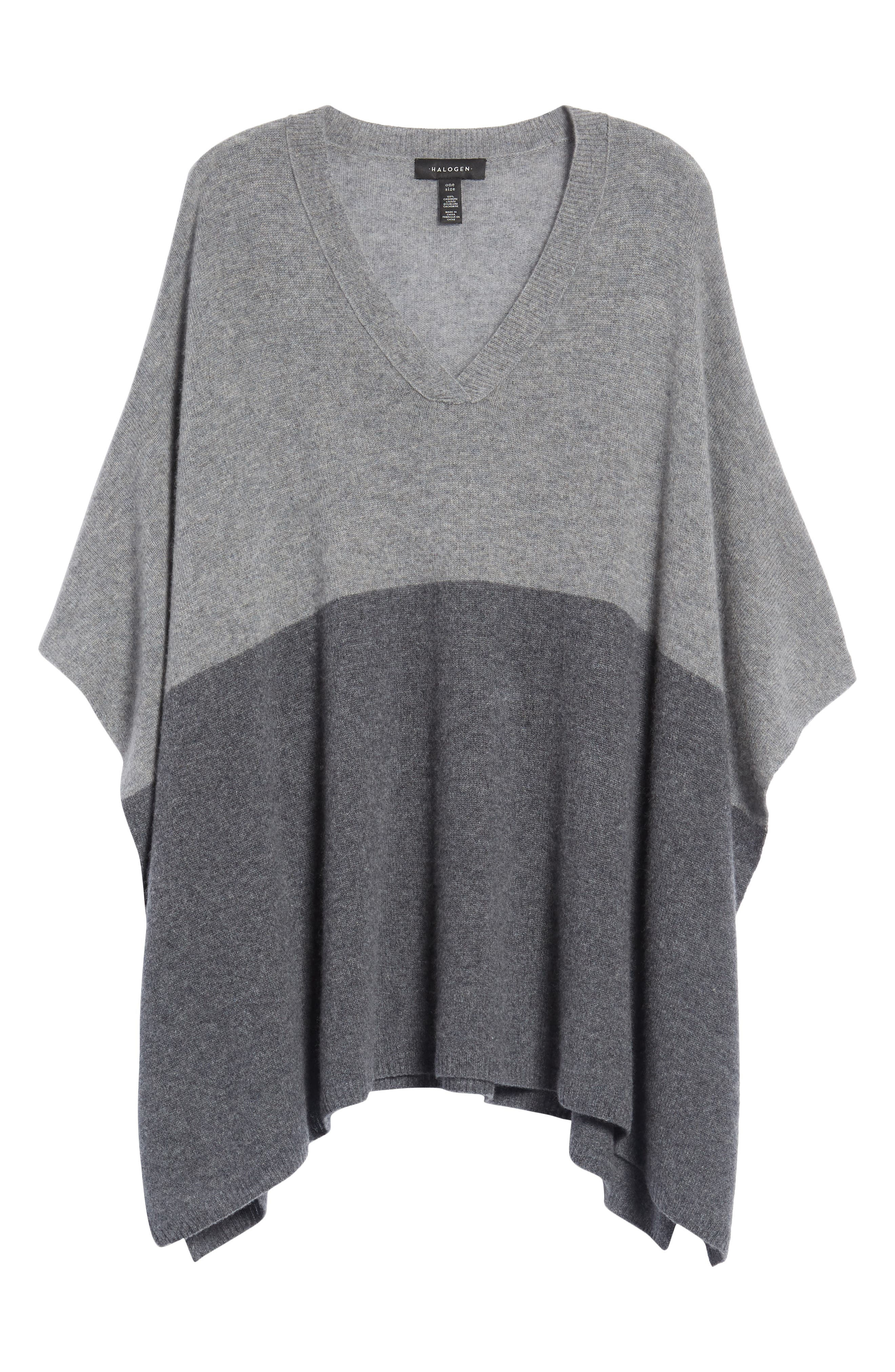 Colorblock Cashmere Poncho,                             Alternate thumbnail 6, color,                             030