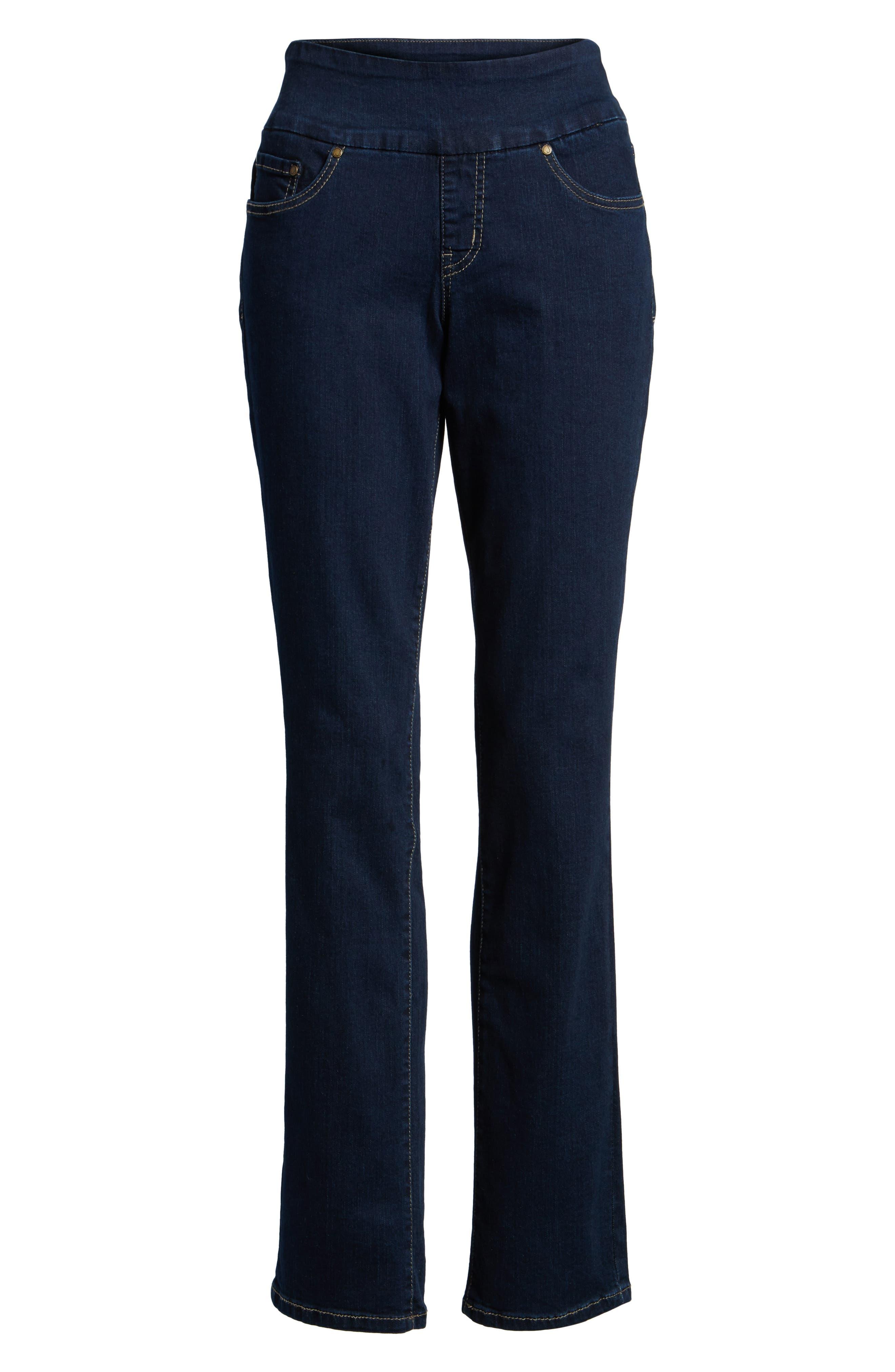 Peri Pull-On Straight Leg Jeans,                             Alternate thumbnail 6, color,                             DARK INDIGO
