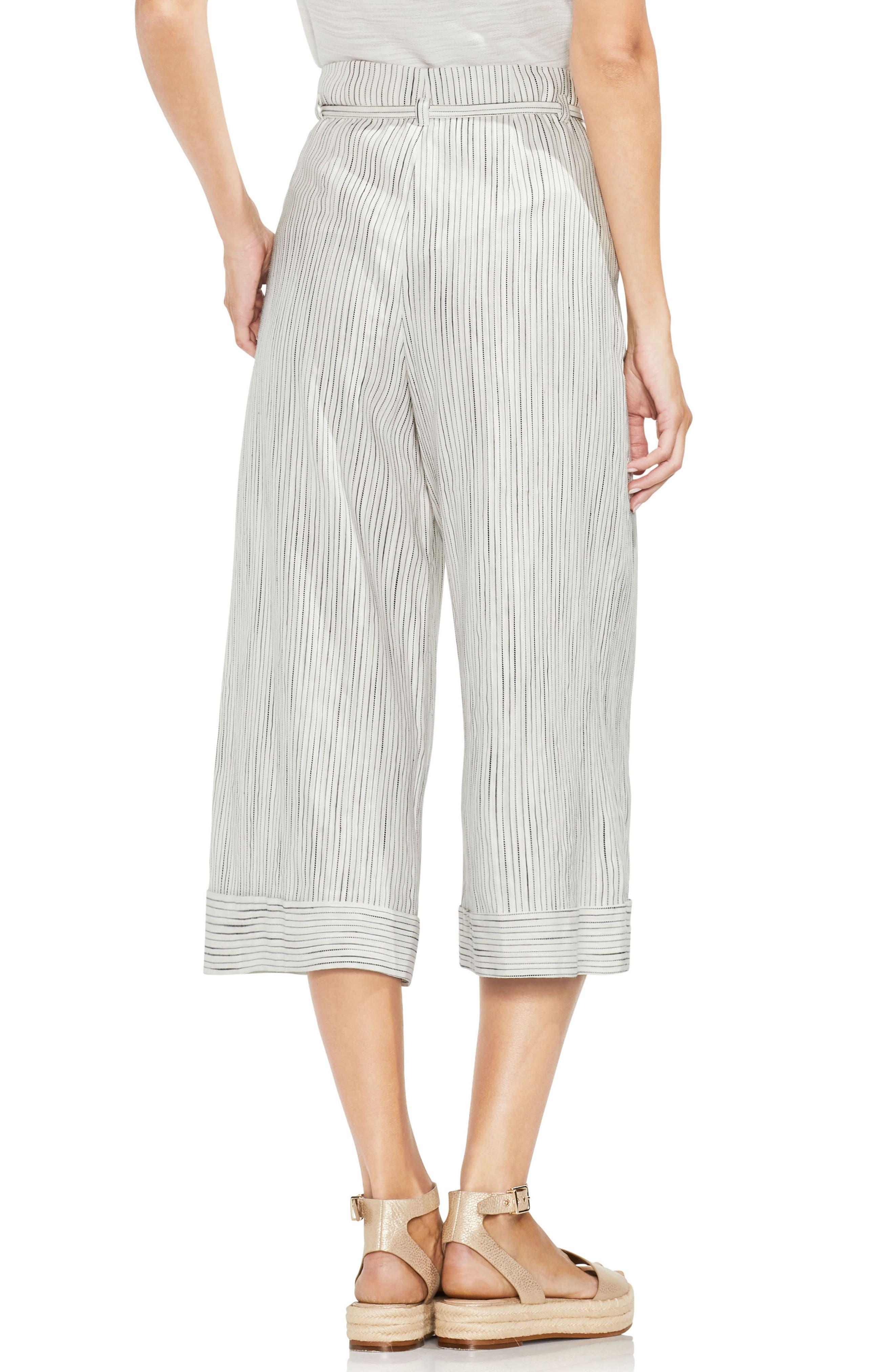 Tie Front Stripe Wide Leg Pants,                             Alternate thumbnail 2, color,                             001