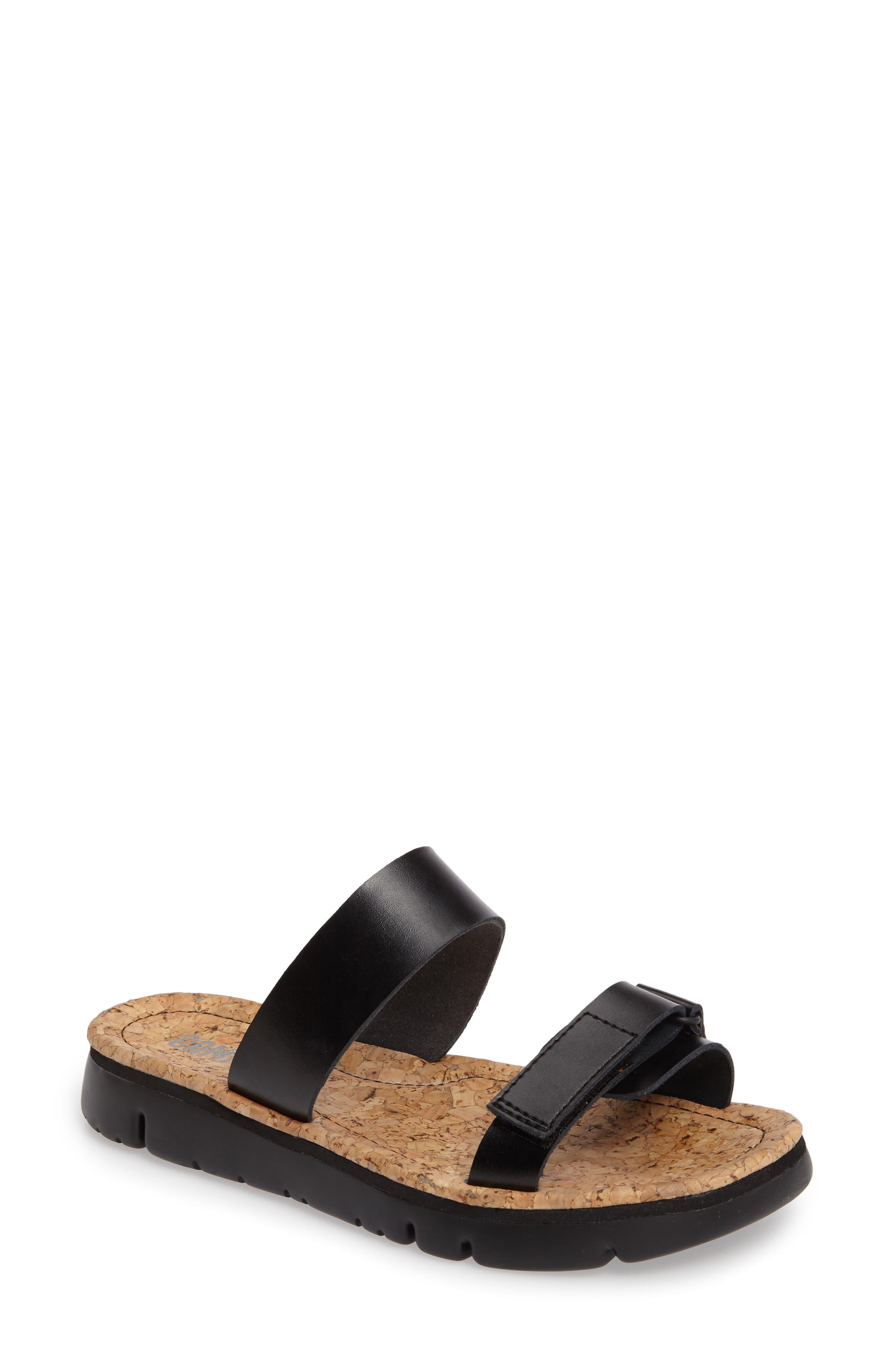 'Oruga' Two Strap Slide Sandal,                             Main thumbnail 1, color,                             BLACK