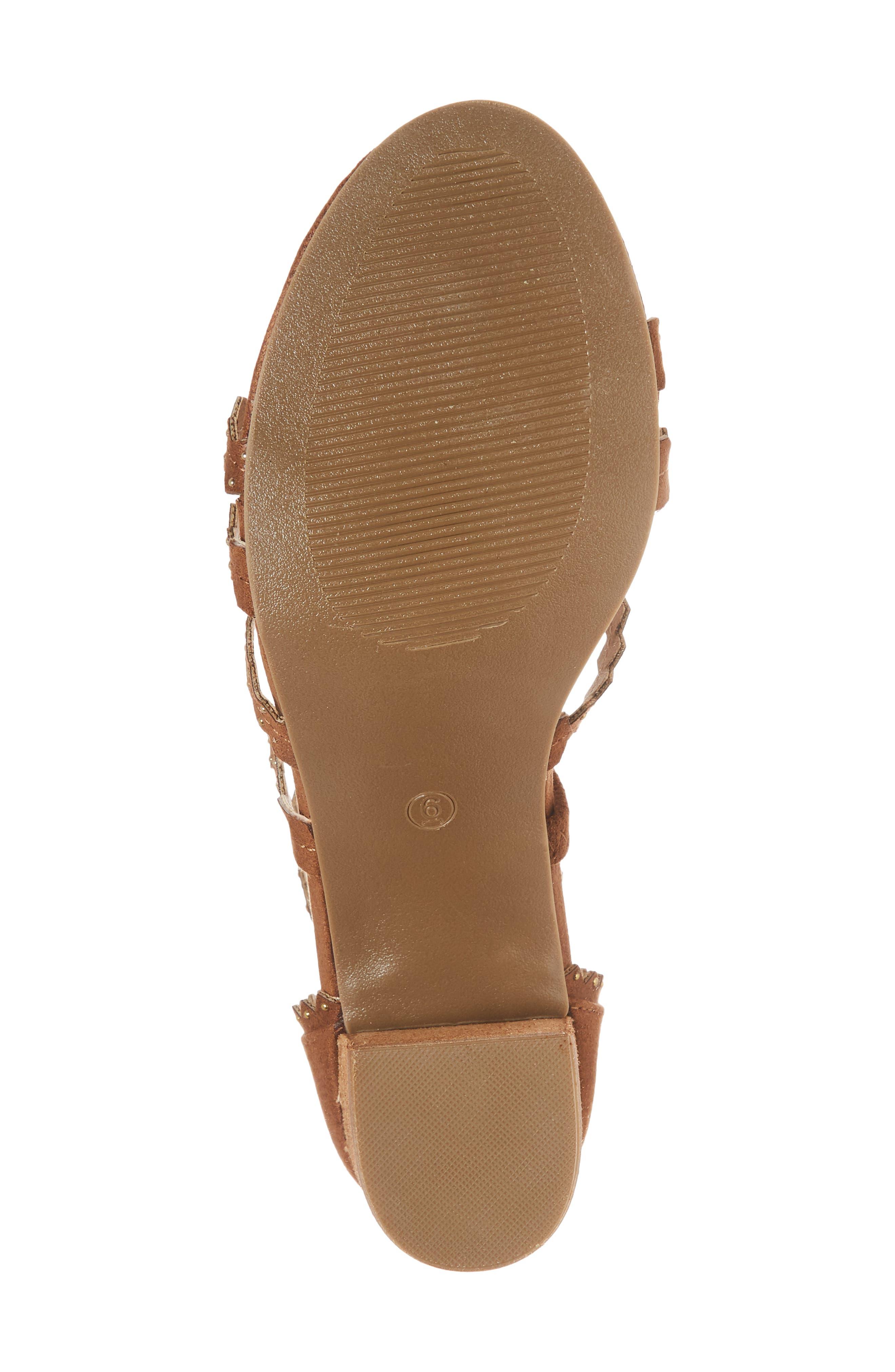 Aiden Block Heel Sandal,                             Alternate thumbnail 6, color,                             SADDLE SUEDE