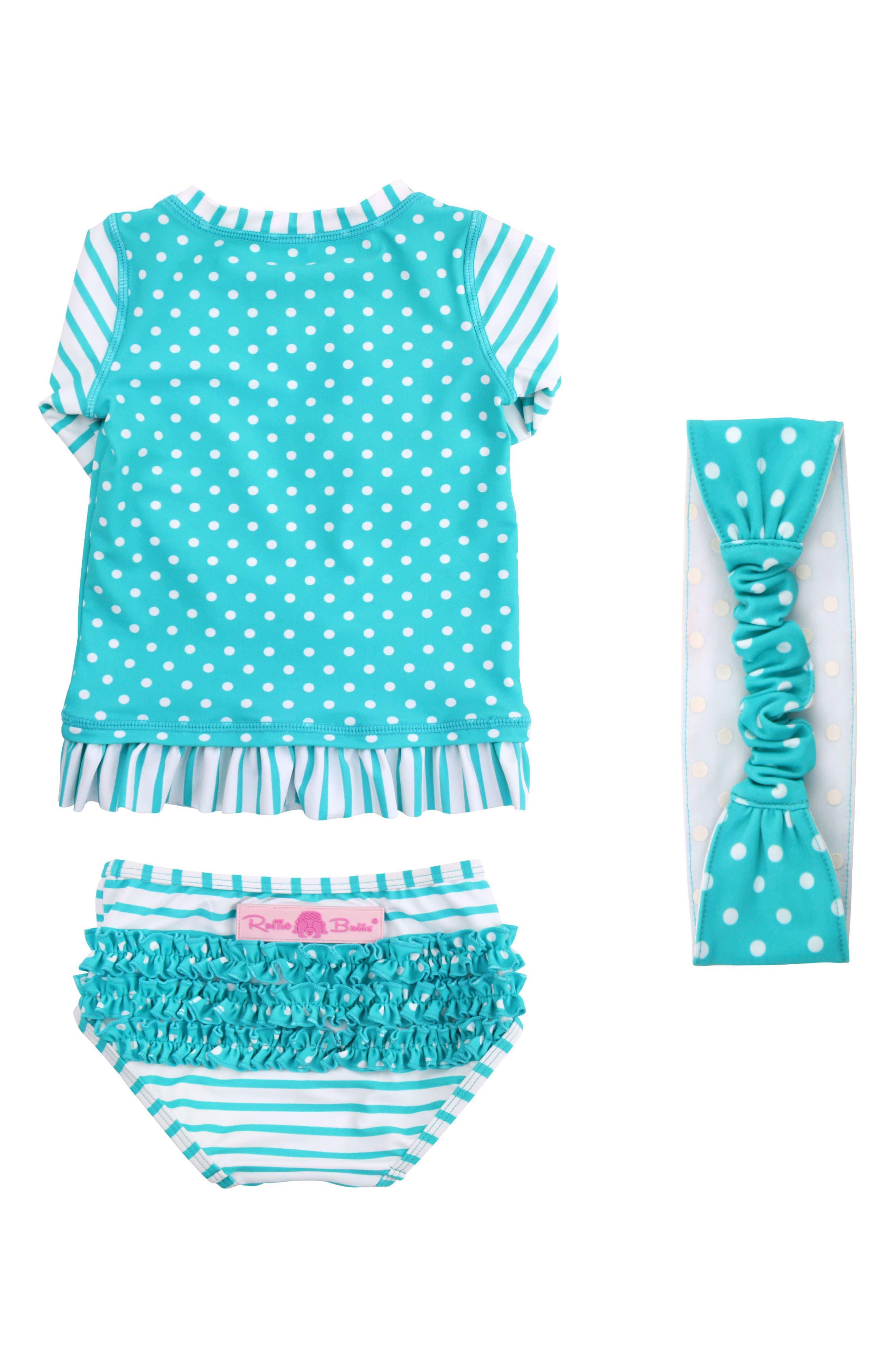 Two-Piece Rashguard Swimsuit & Head Wrap Set,                         Main,                         color, 440
