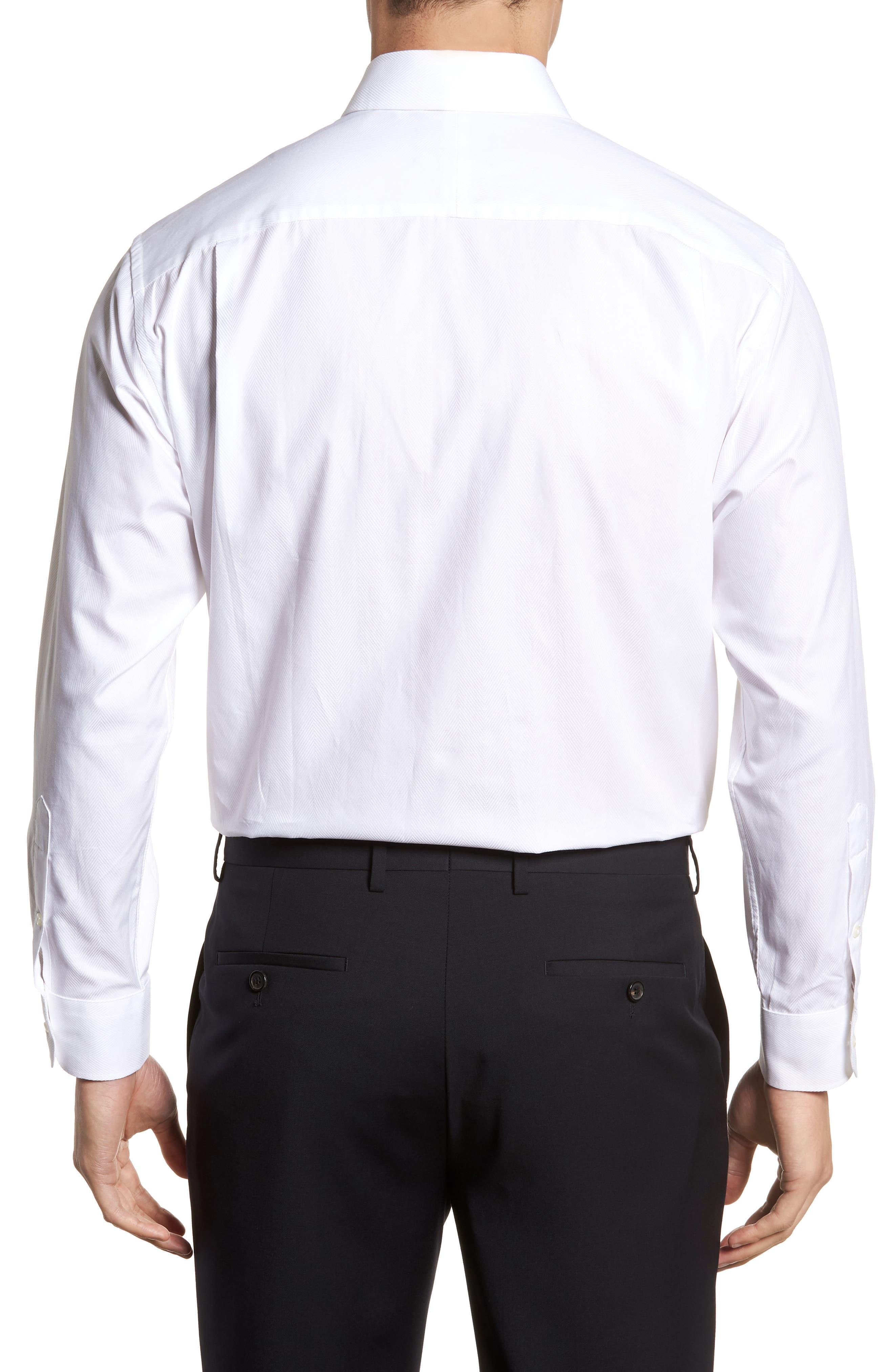 Classic Fit Herringbone Dress Shirt,                             Alternate thumbnail 3, color,                             100