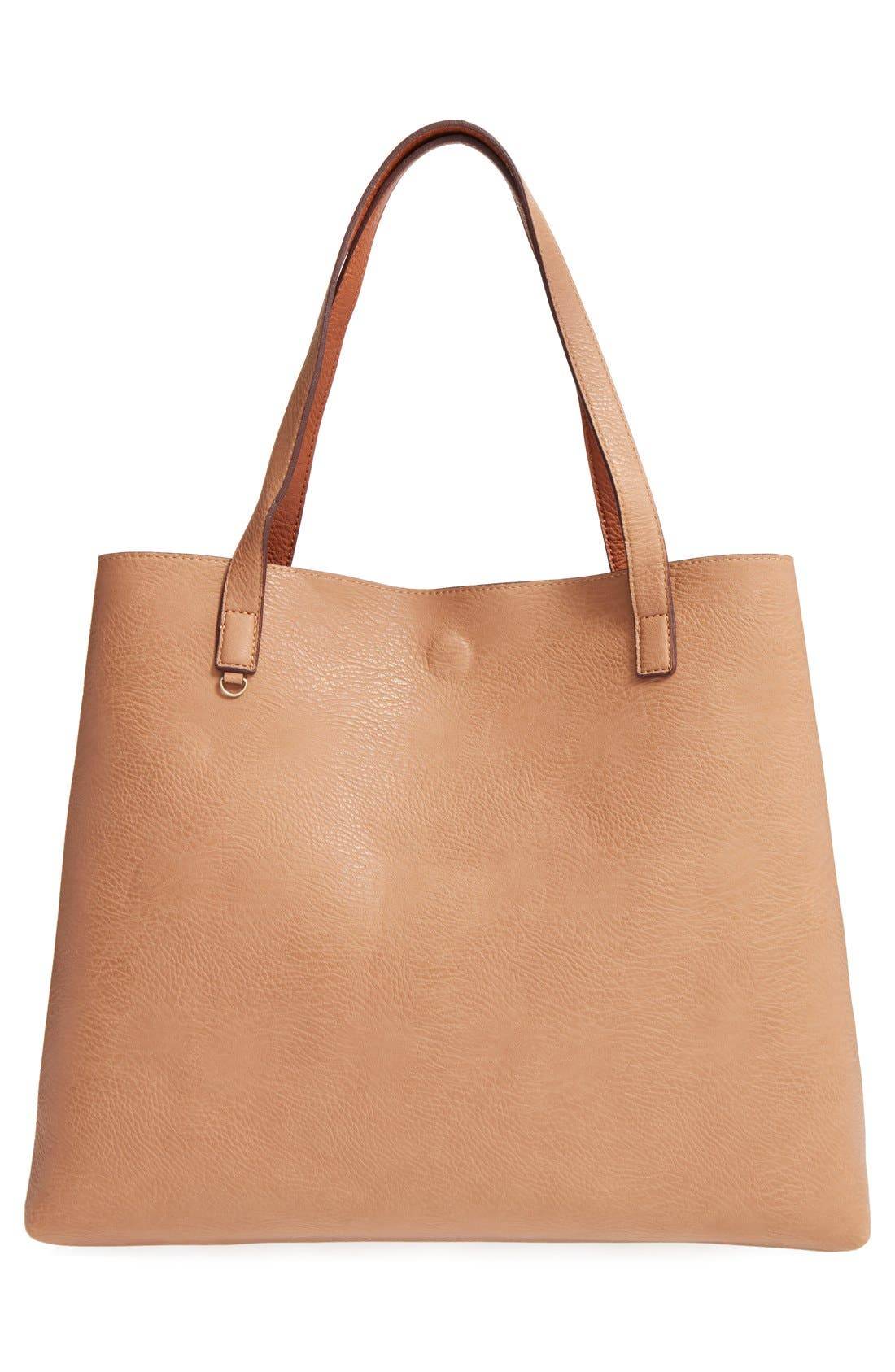 STREET LEVEL,                             Reversible Faux Leather Tote & Wristlet,                             Alternate thumbnail 4, color,                             COGNAC