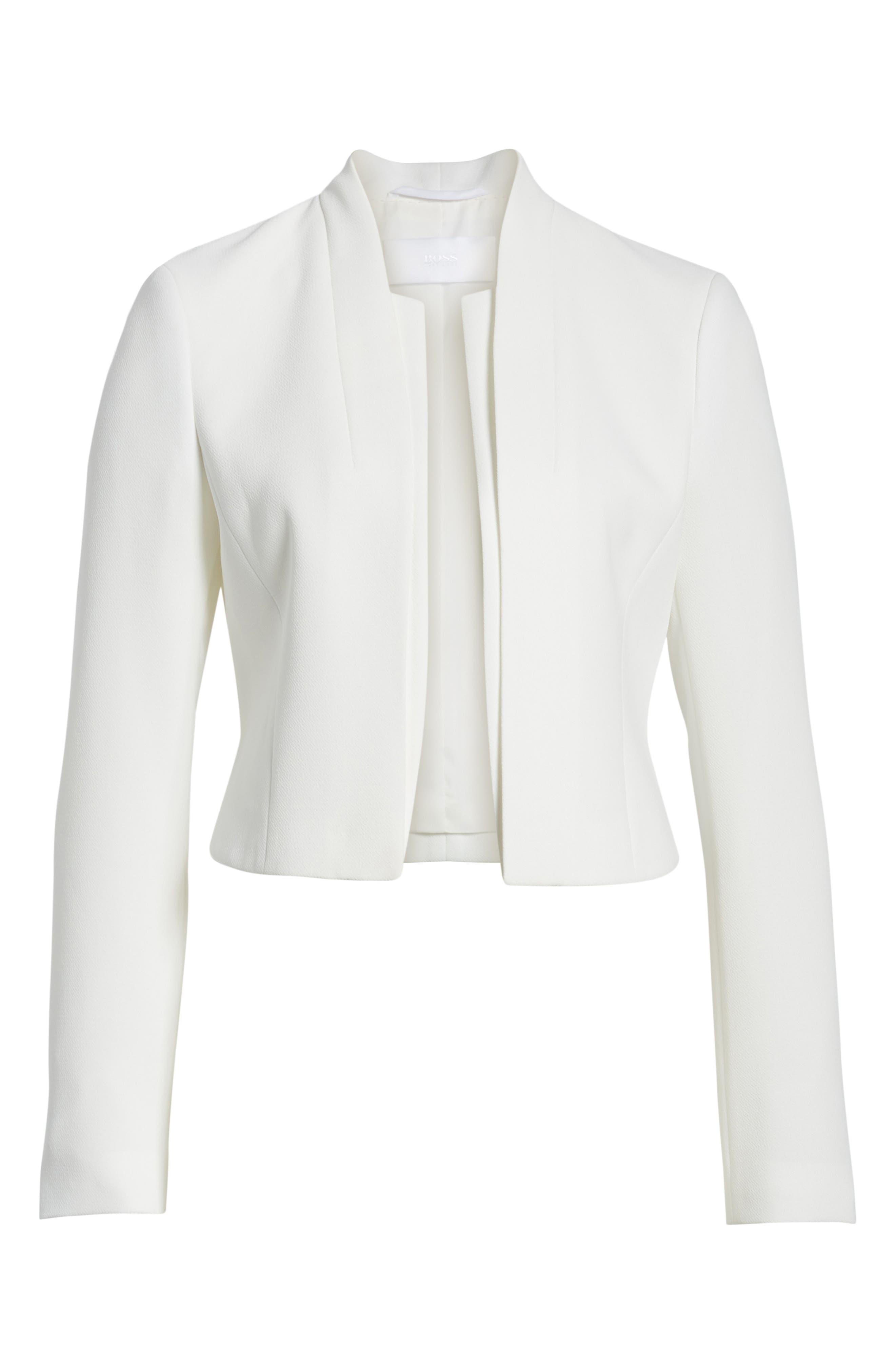 Jasika Crop Suit Jacket,                             Alternate thumbnail 5, color,                             VANILLA LIGHT