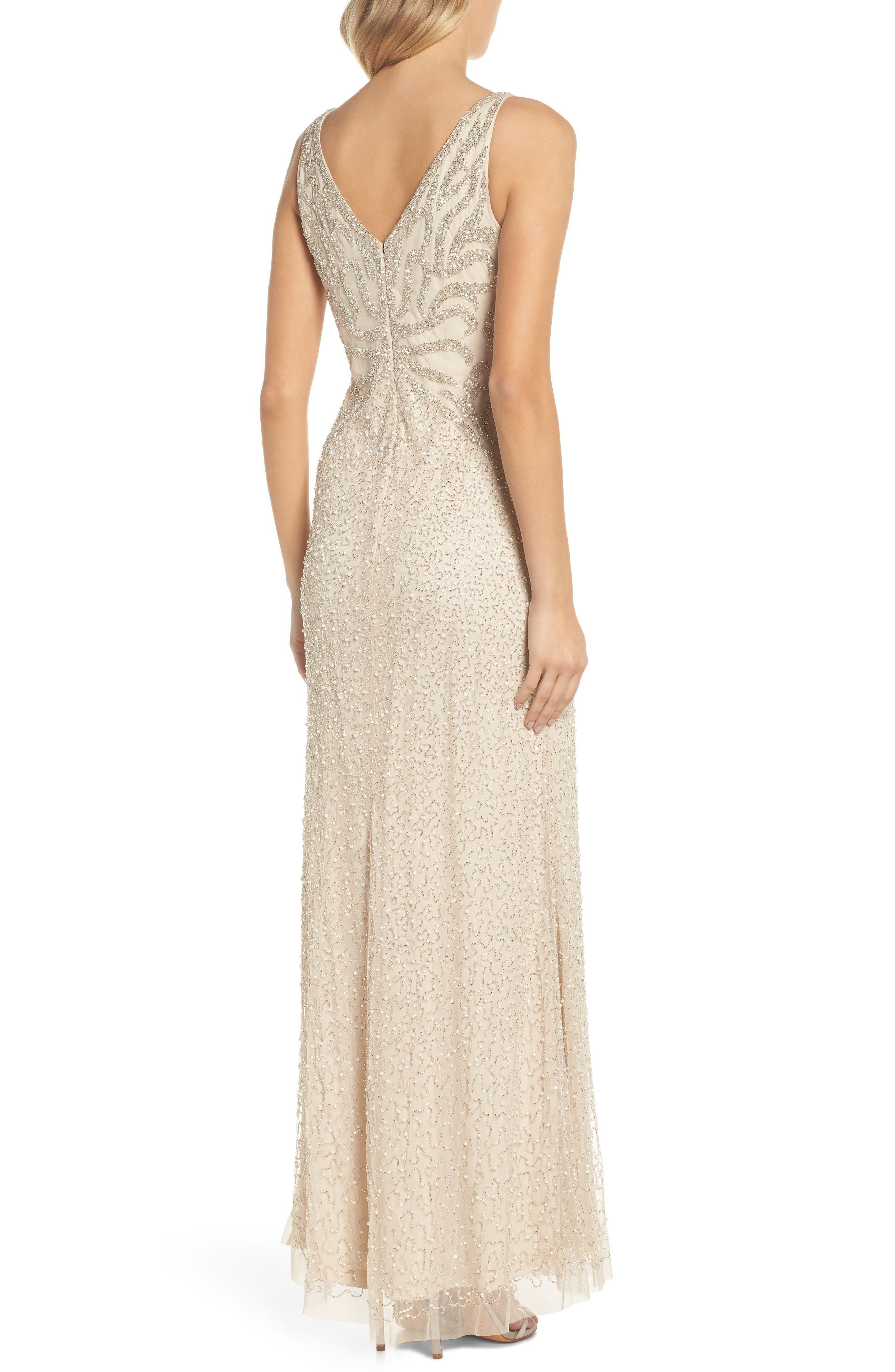 Beaded V-Neck Gown,                             Alternate thumbnail 2, color,                             250