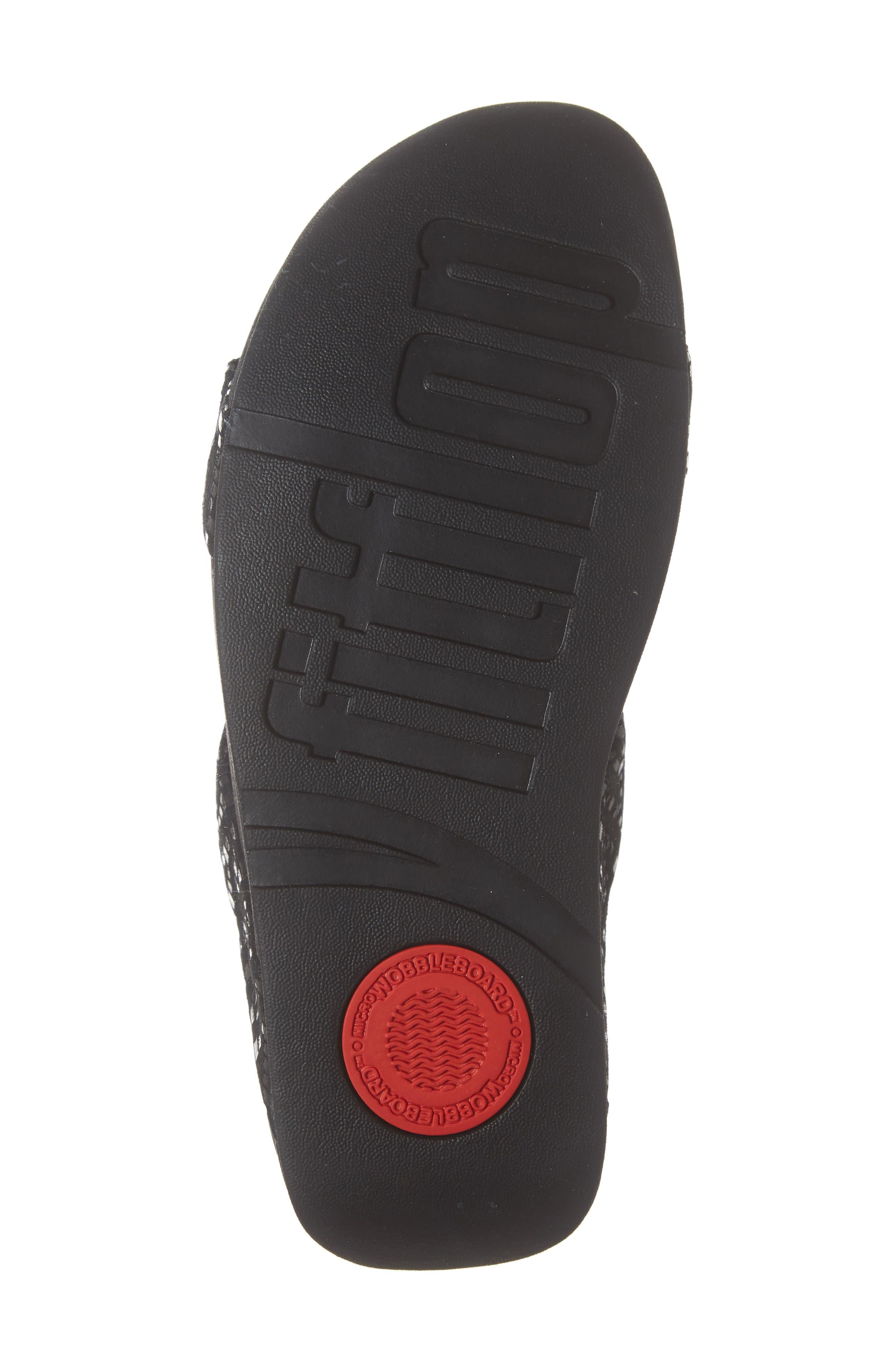 Lottie Chevron Wedge Slide Sandal,                             Alternate thumbnail 6, color,                             BLACK FABRIC