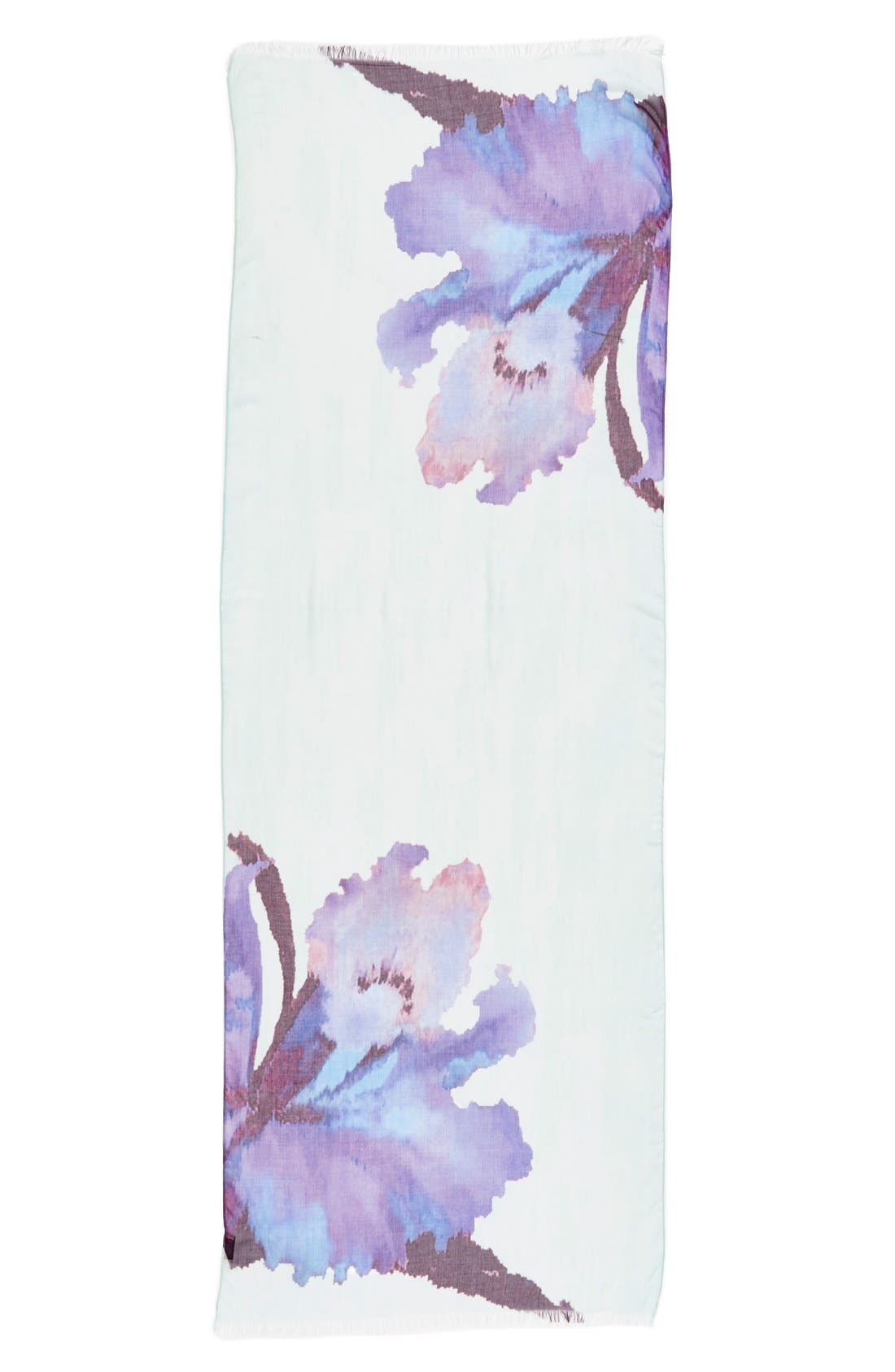 Badgley Mischka 'Wild Iris' Print Modal & Silk Scarf,                             Alternate thumbnail 2, color,                             400